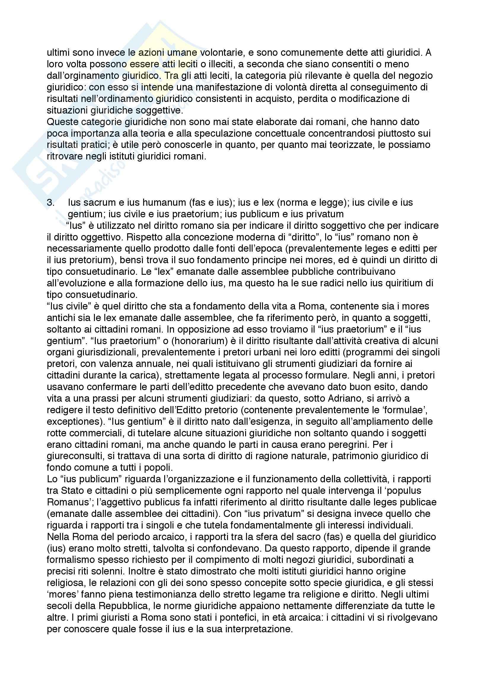 Diritto privato romano - 100 Domande e Risposte - Programma completo - Università di Torino Pag. 2