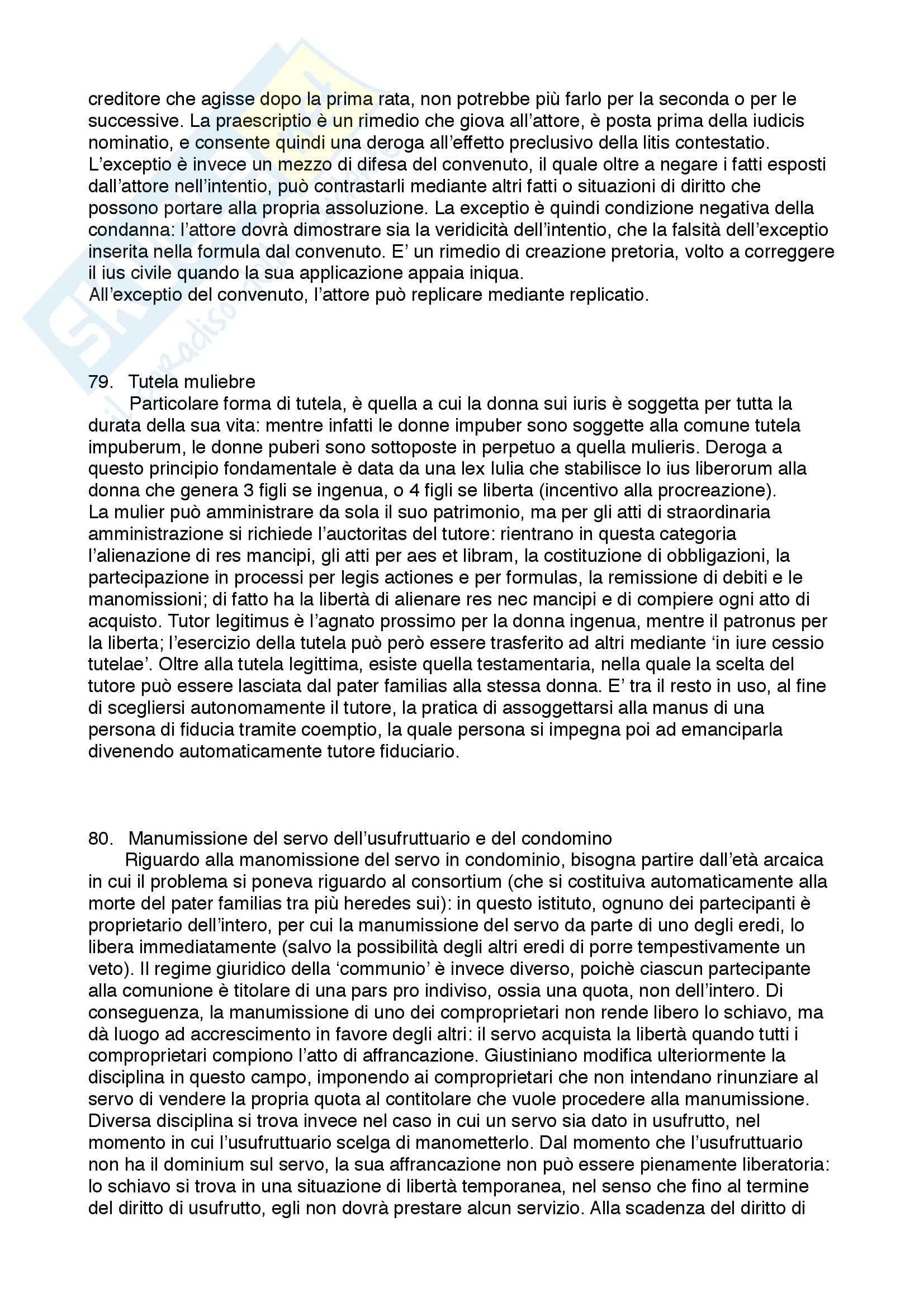 Diritto privato romano - 100 Domande e Risposte - Programma completo - Università di Torino Pag. 36