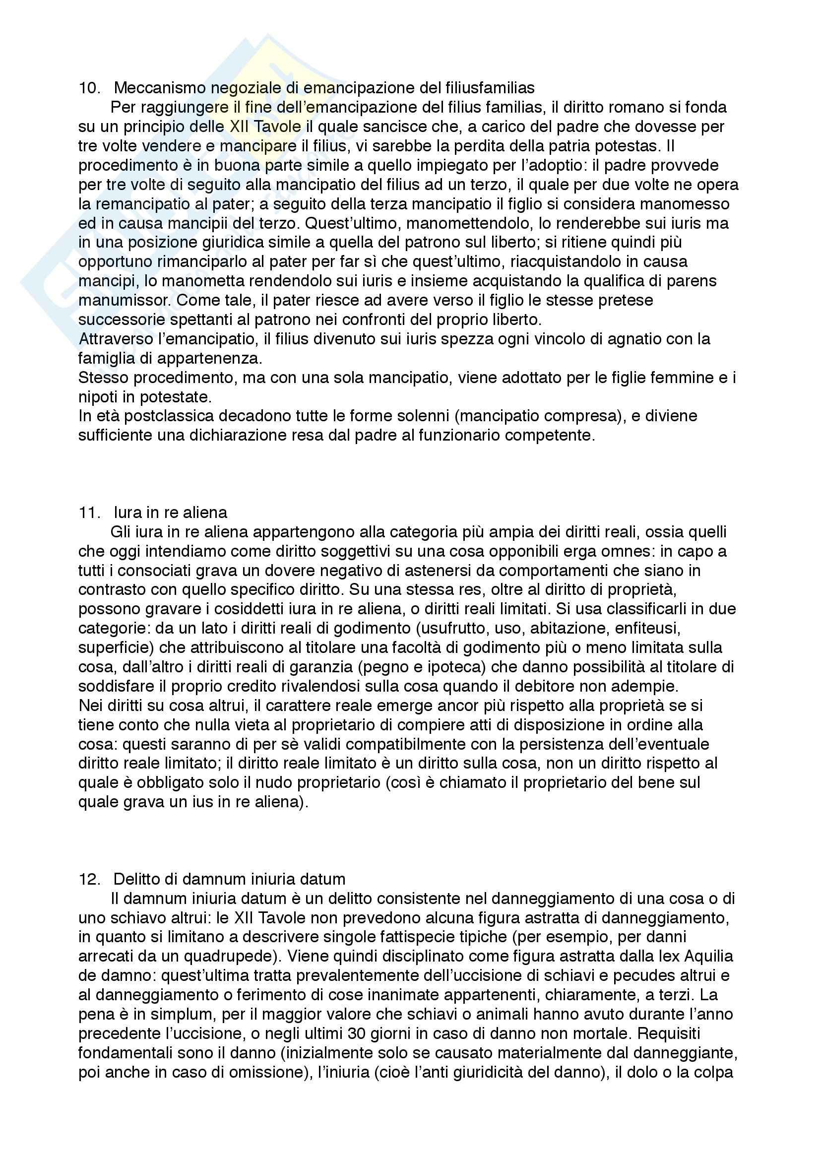 Diritto privato romano - 100 Domande e Risposte - Programma completo - Università di Torino Pag. 6