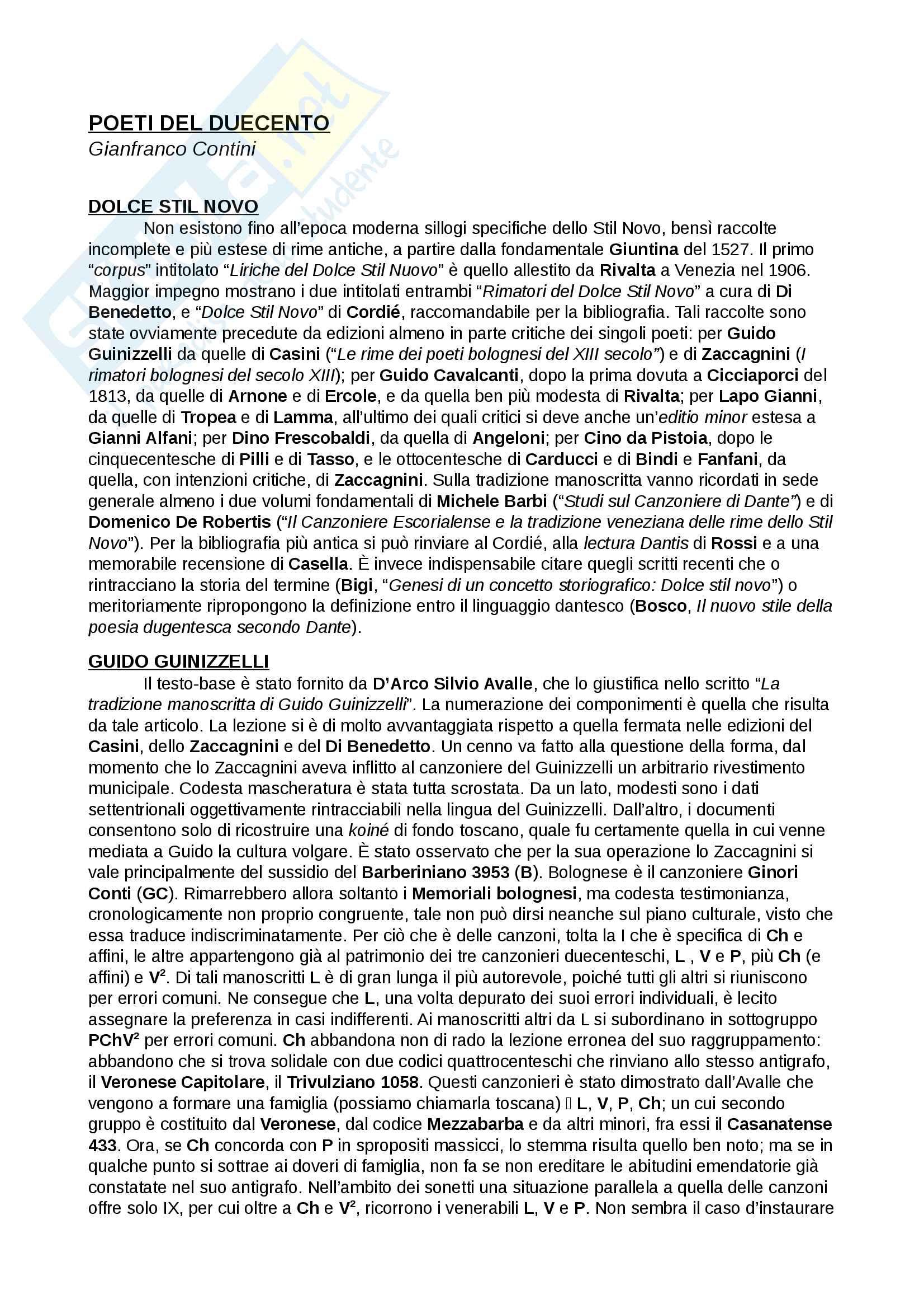 Riassunti esame Filologia italiana II A, Prof. Grimaldi, libro consigliato dispensa del corso di Filologia italiana II A, A.A. 2015/16, Gianfranco Contini, Lino Leonardi
