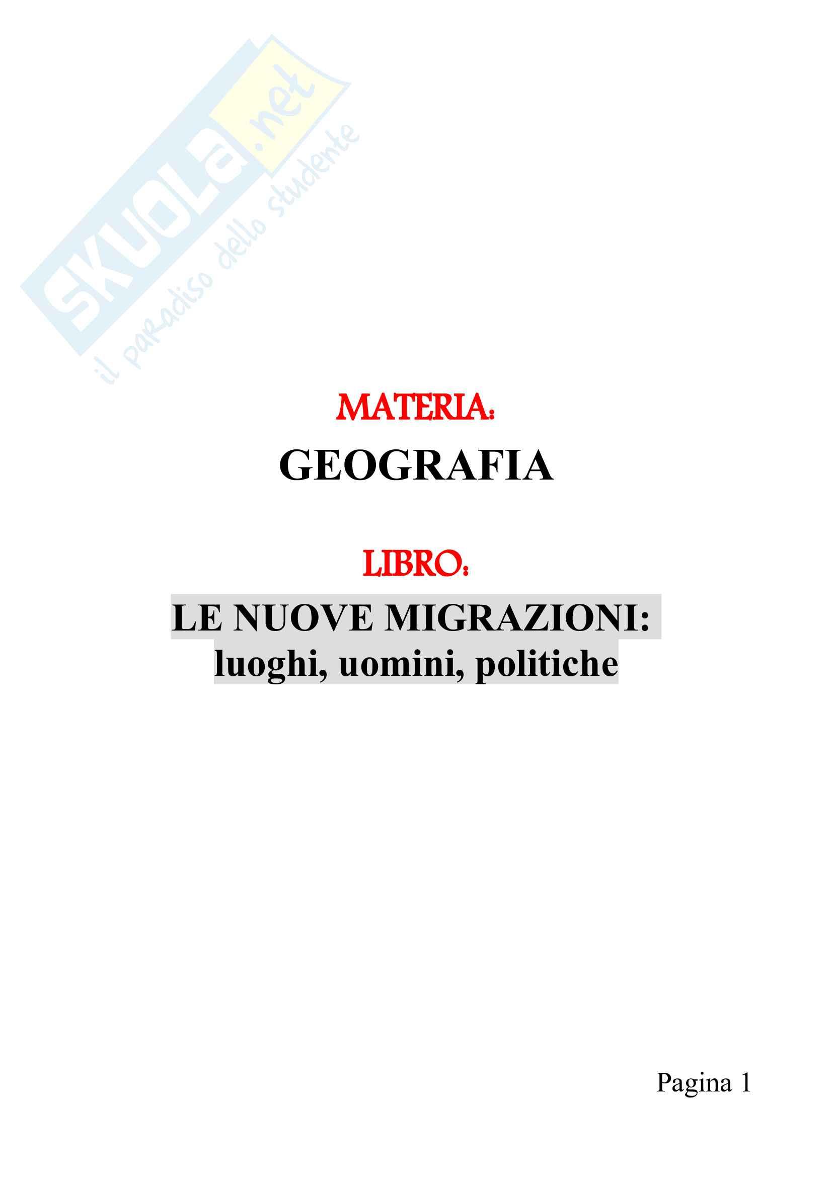 Riassunto esame di Geografia, prof. Riggio, libro consigliato Le nuove migrazioni luoghi uomini politiche, Withol de Wenden