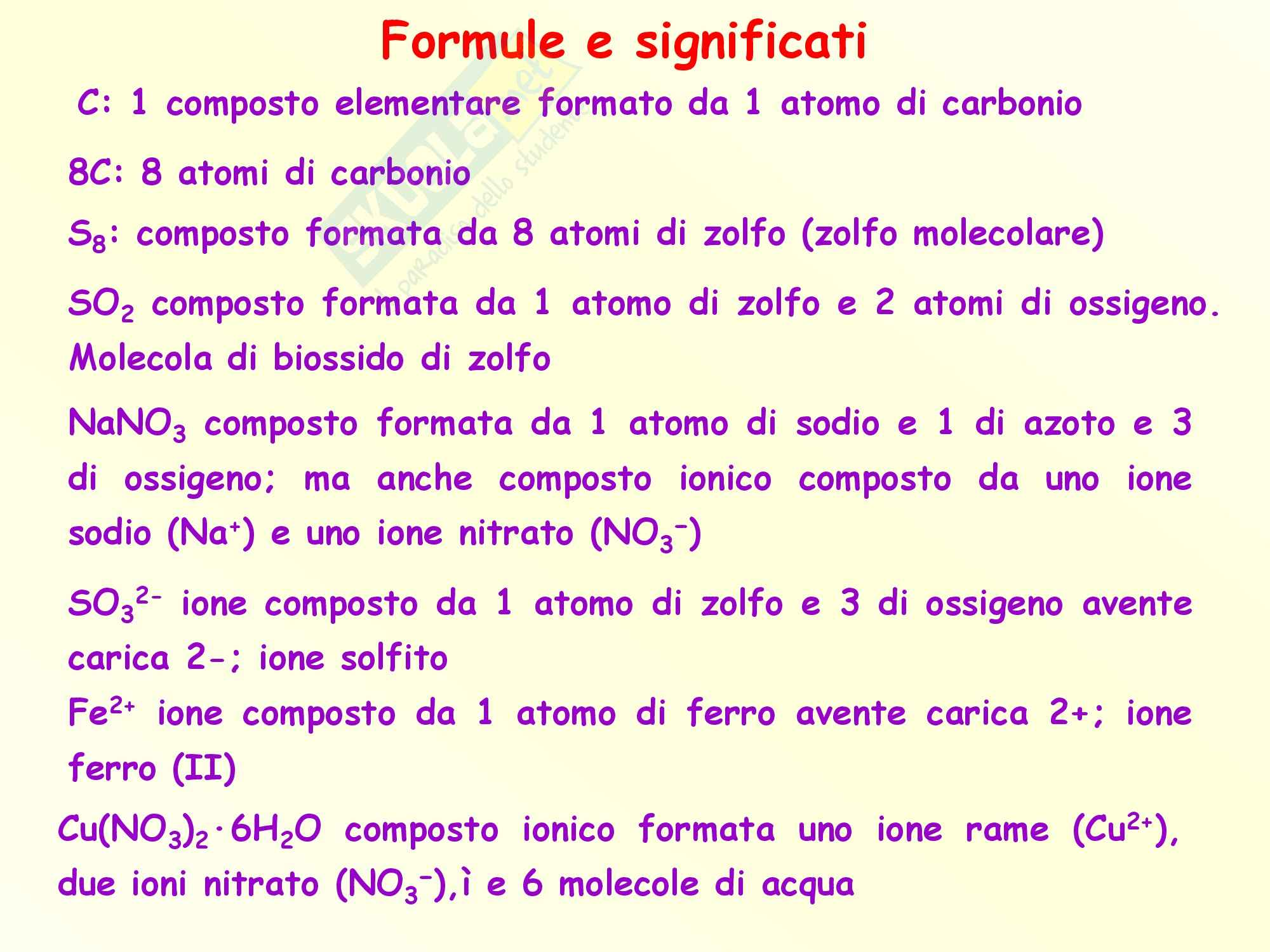 Chimica inorganica - formule, significati e mole