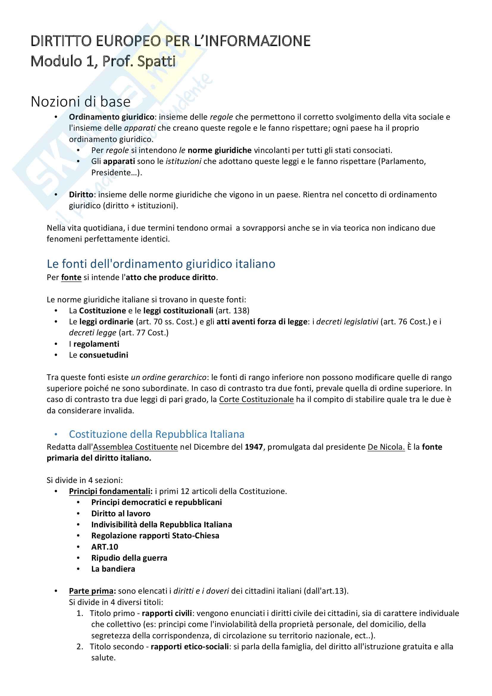 Diritto Europeo dell'Informazione - I modulo, Prof. Monica Spatti