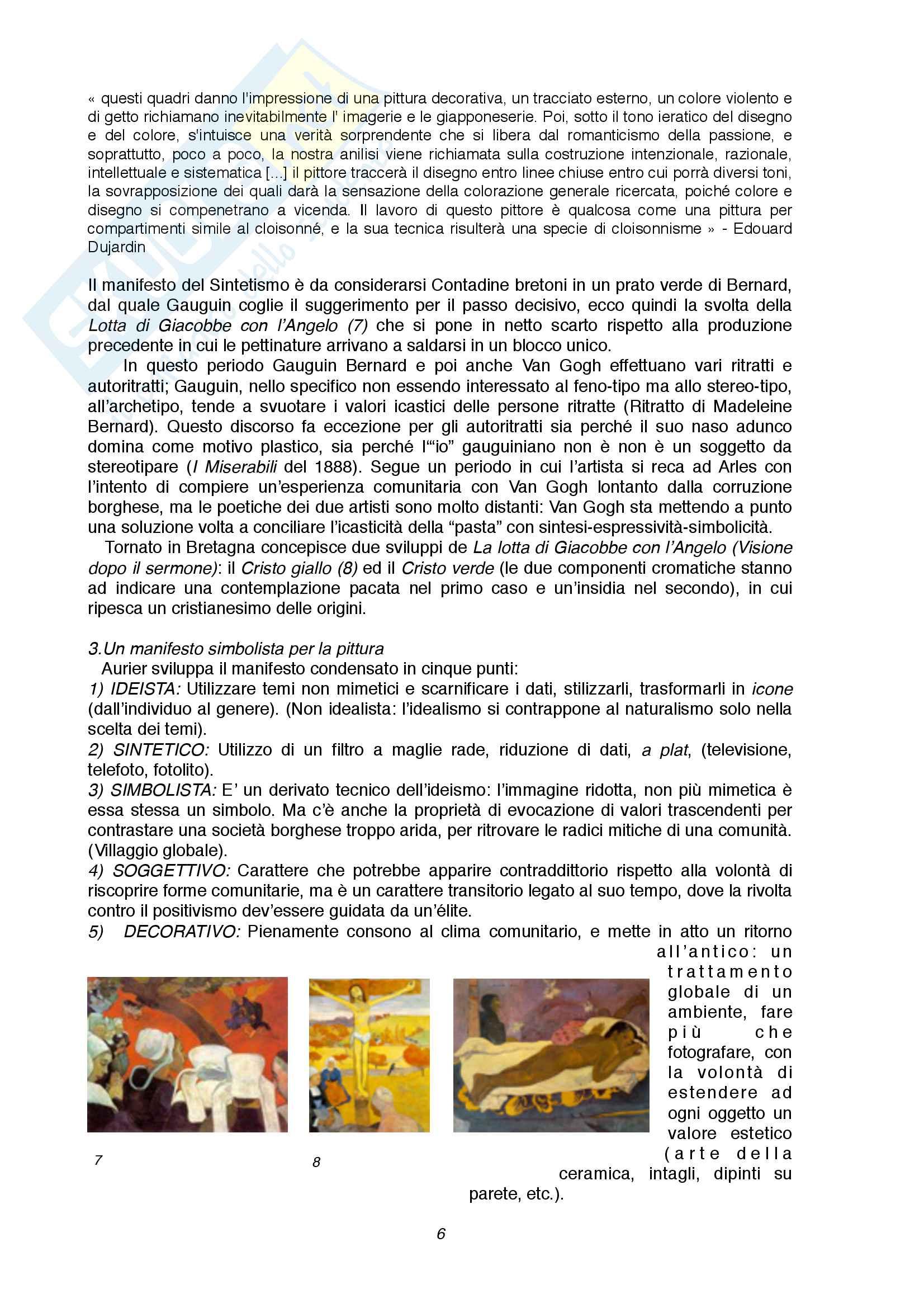 Riassunto esame Storia dell'arte contemporanea, prof. di Scienze letterarie, libro consigliato Renato Barilli, l'arte contemporanea da Cézanne alle ultime tendenze Pag. 6