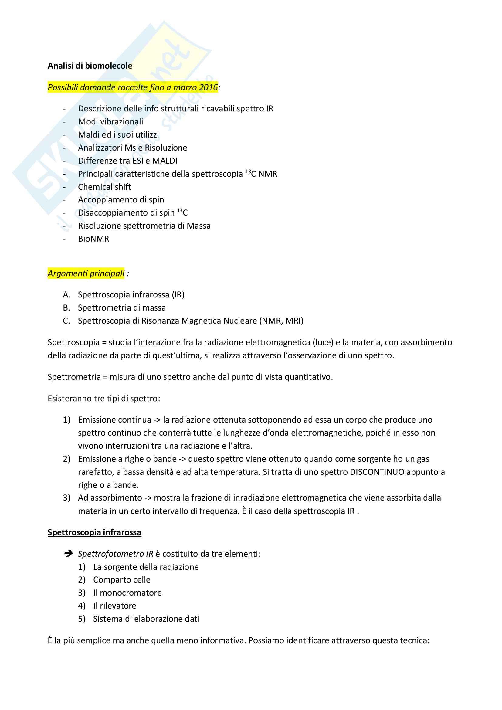 Analisi di biomolecole