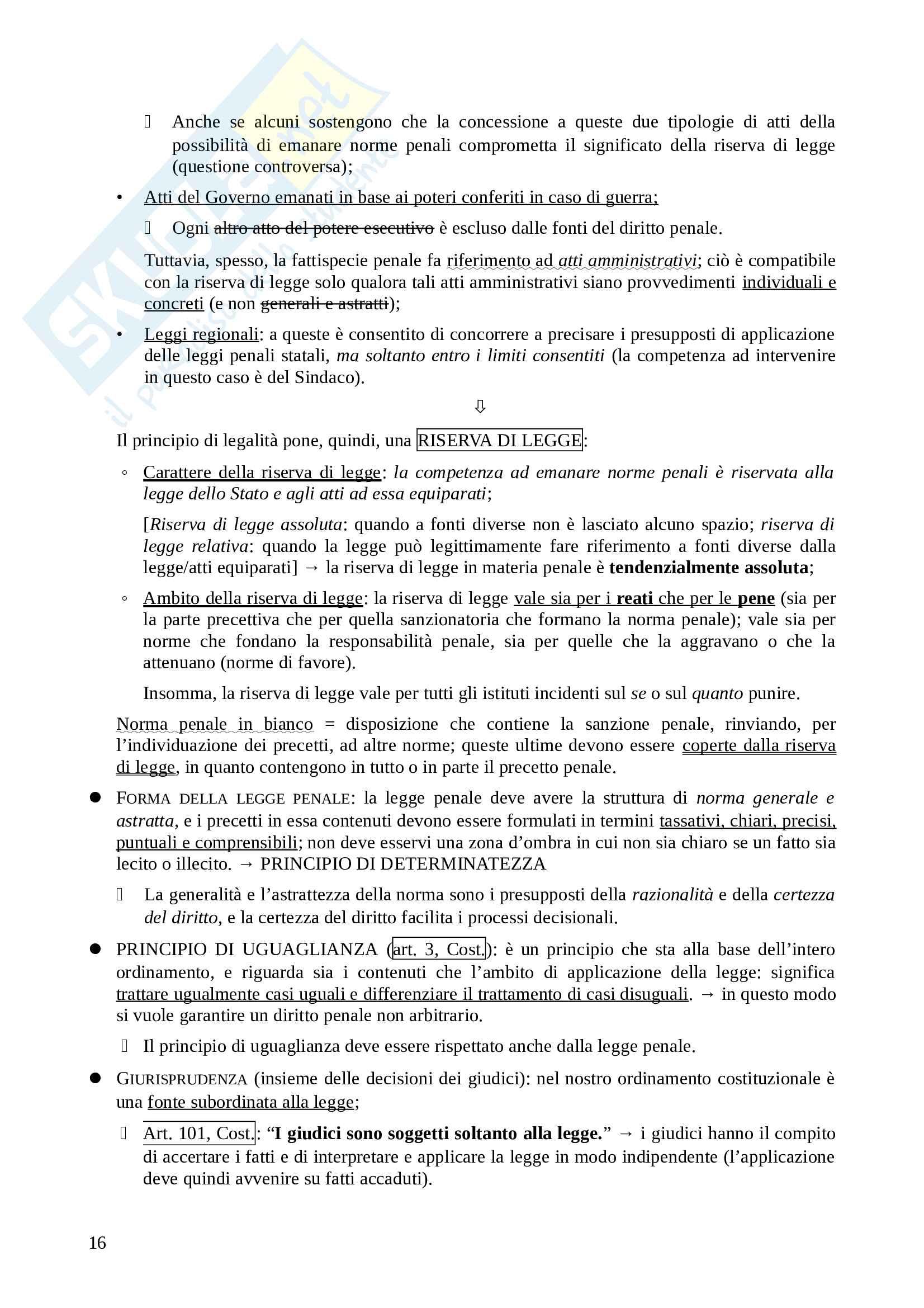 Appunti di diritto penale - parte generale, prof. Pighi, libro consigliato Diritto penale, Pulitanò Pag. 16