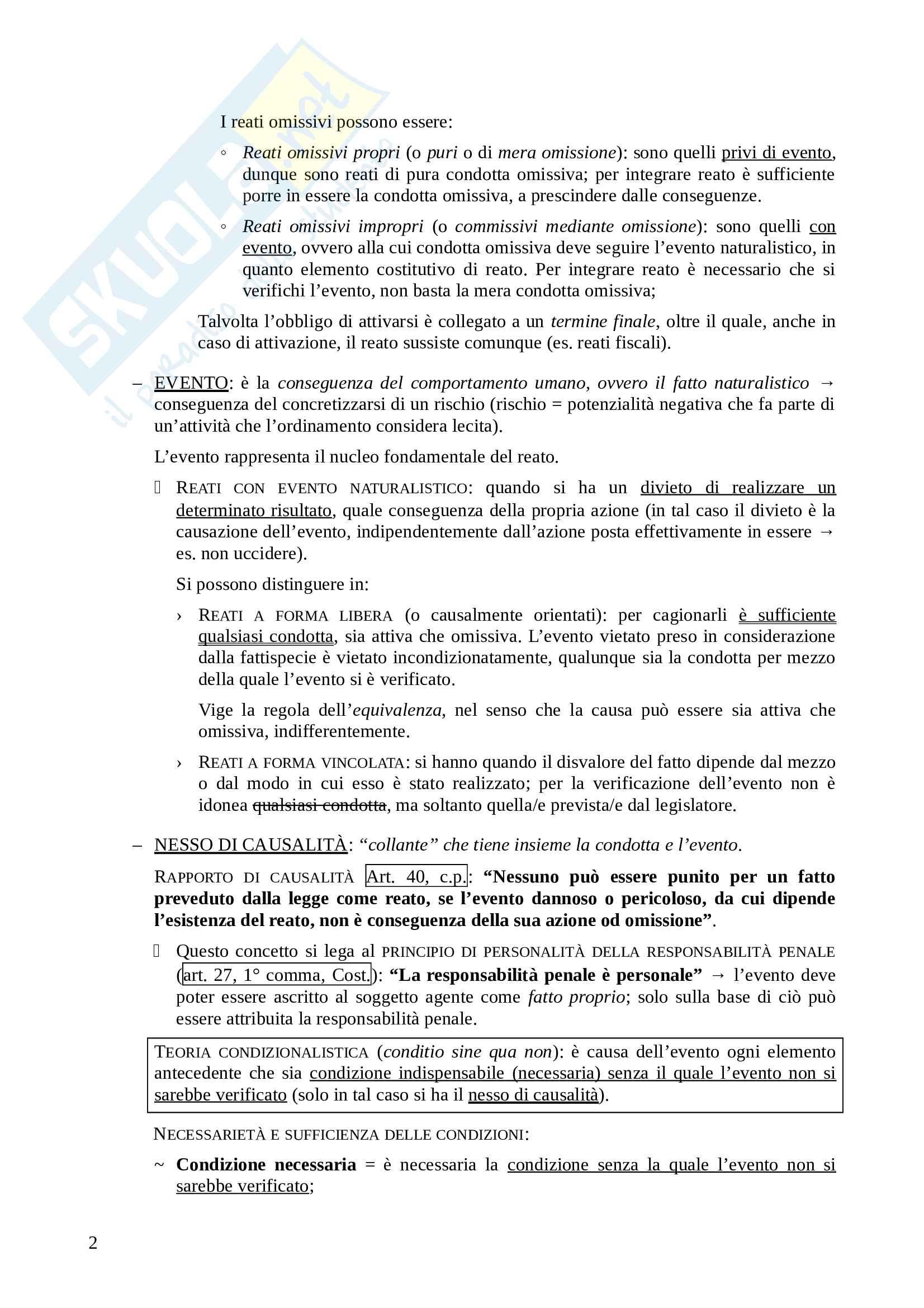 Appunti di diritto penale - parte generale, prof. Pighi, libro consigliato Diritto penale, Pulitanò Pag. 2