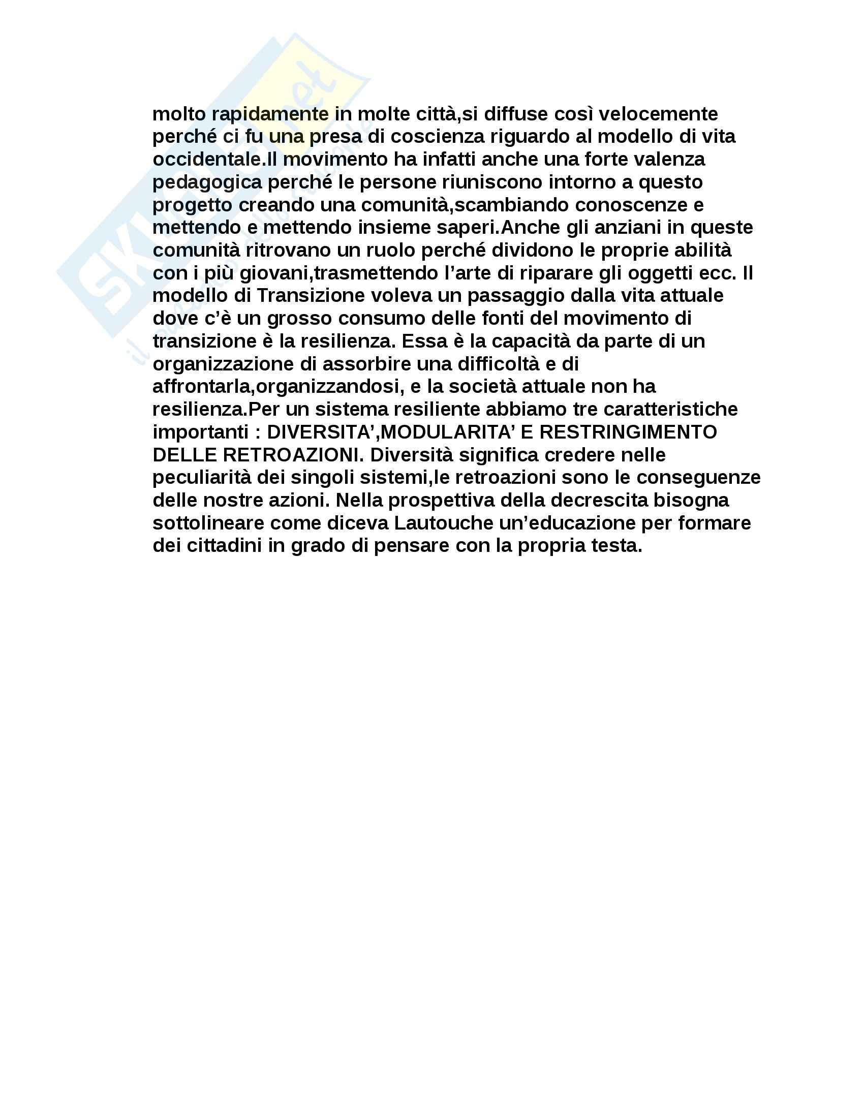 Riassunto esame Pedagogia Sociale, prof. Sirignano, libro consigliato Pedagogia della decrescita, Pag. 16
