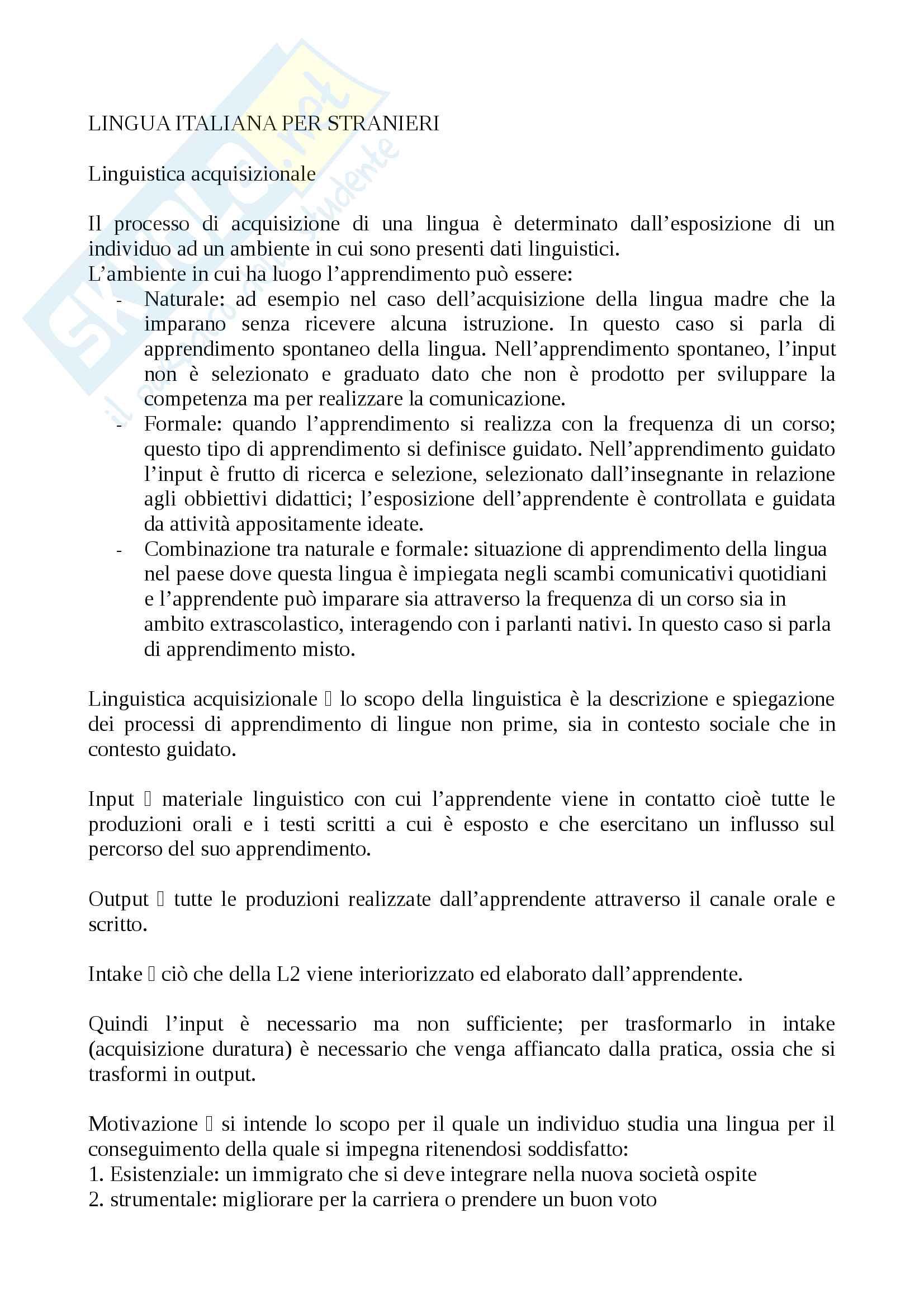 Riassunto esame Lingua Italiana per Stranieri
