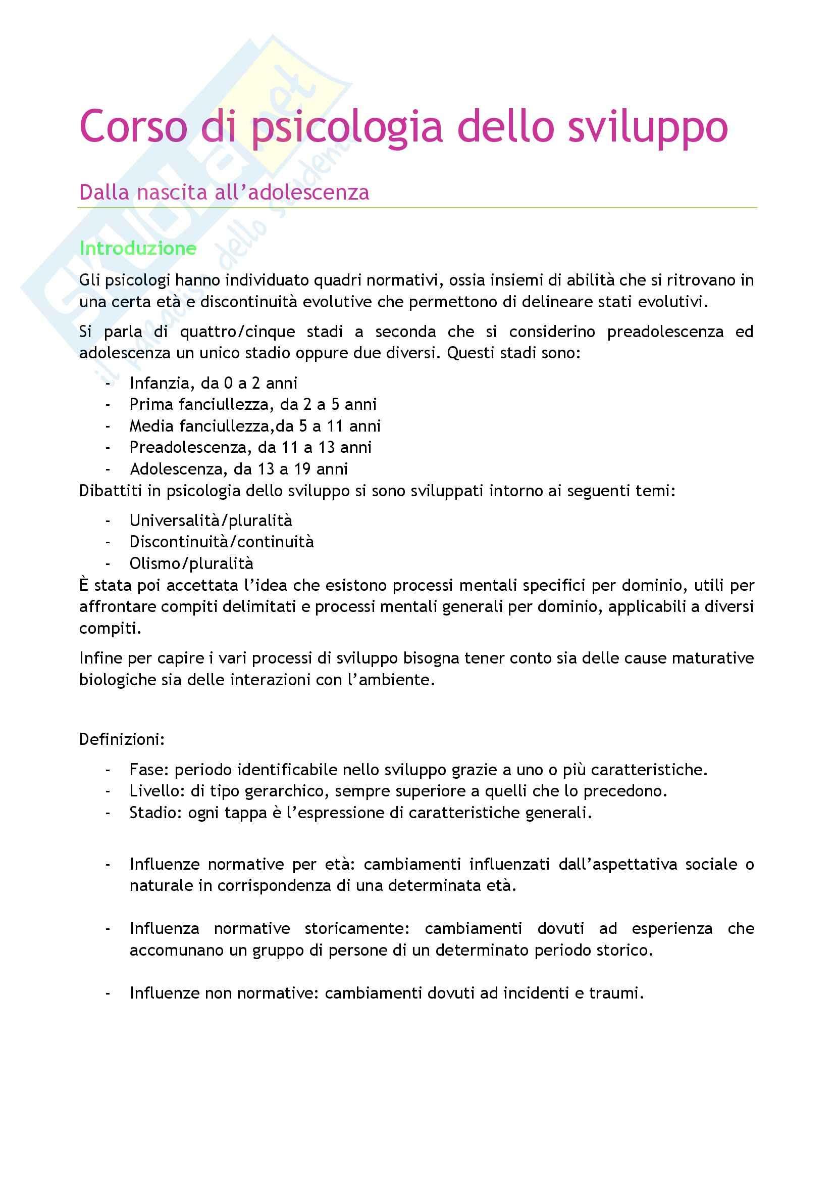 Riassunto esame Psicologia, prof. Caprin, libro consigliato Corso di psicologia dello sviluppo, Berti-Bombi