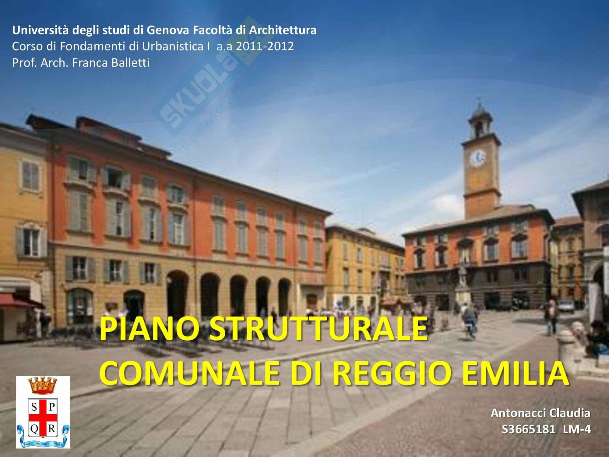 Piano Strutturale Comunale Reggio Emilia, Urbanistica