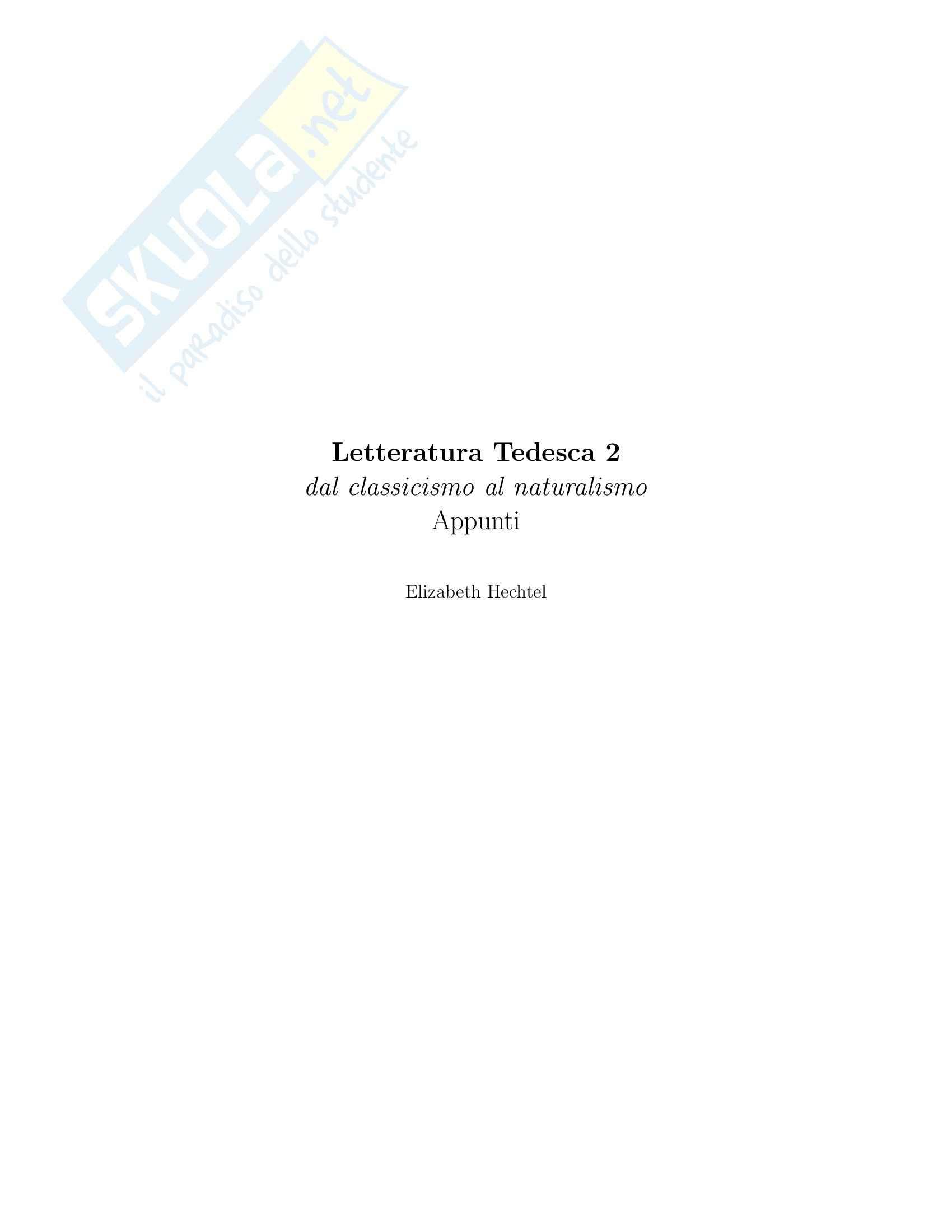 Letteratura Tedesca 2 - Dal classicismo al naturalismo