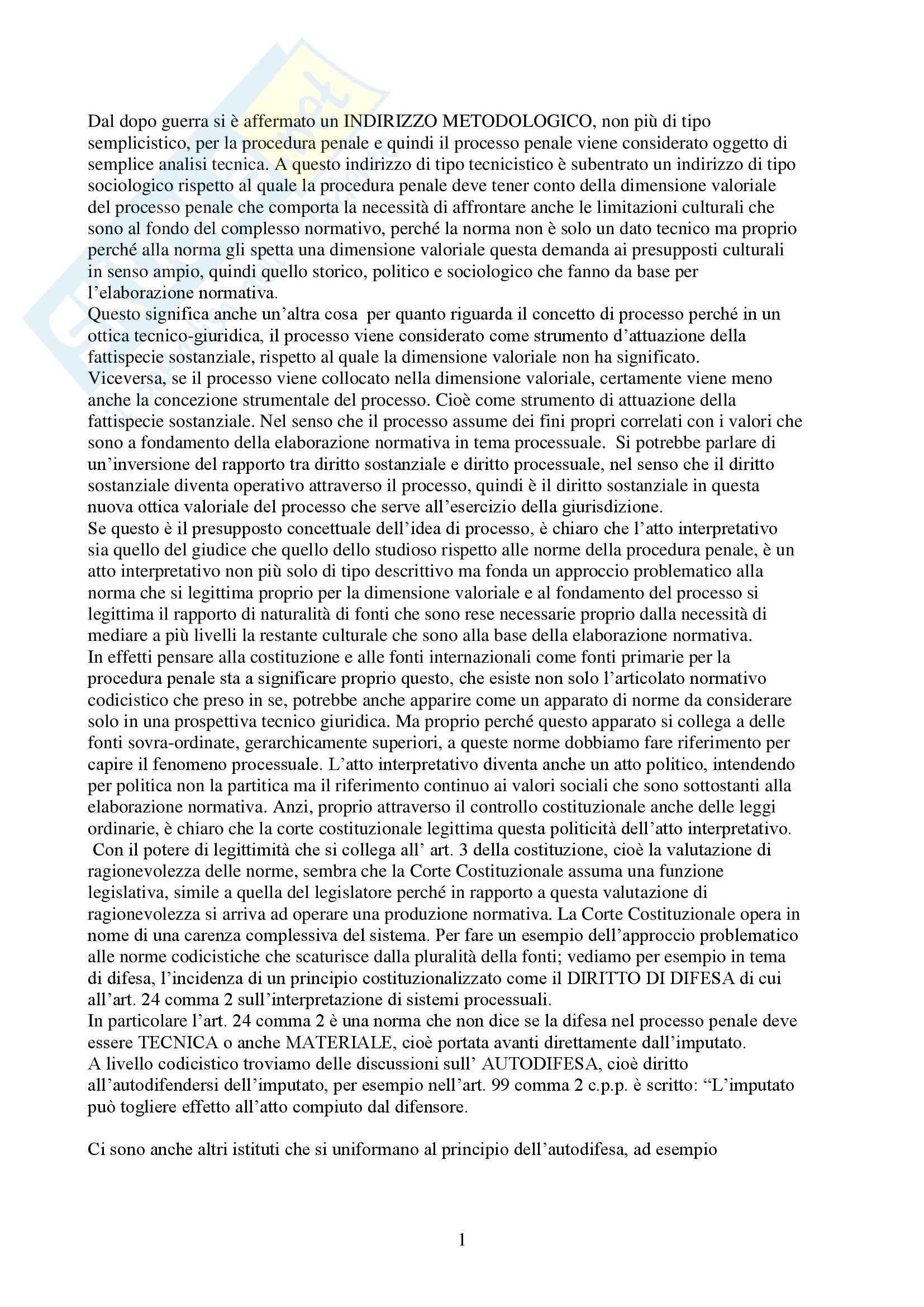 Procedura penale - Riassunto esame, prof. Menna