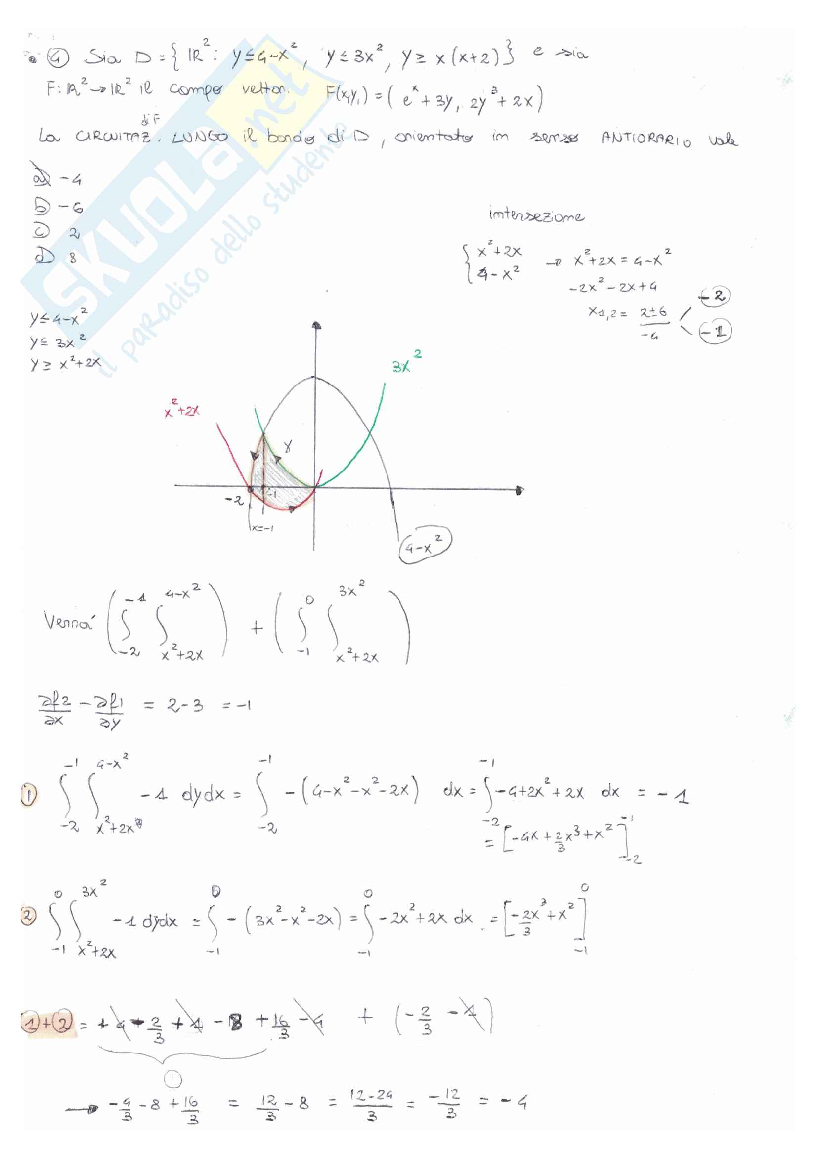 Analisi matematica 2: temi d'esame e quiz svolti e commentati - prof Serra Pag. 11