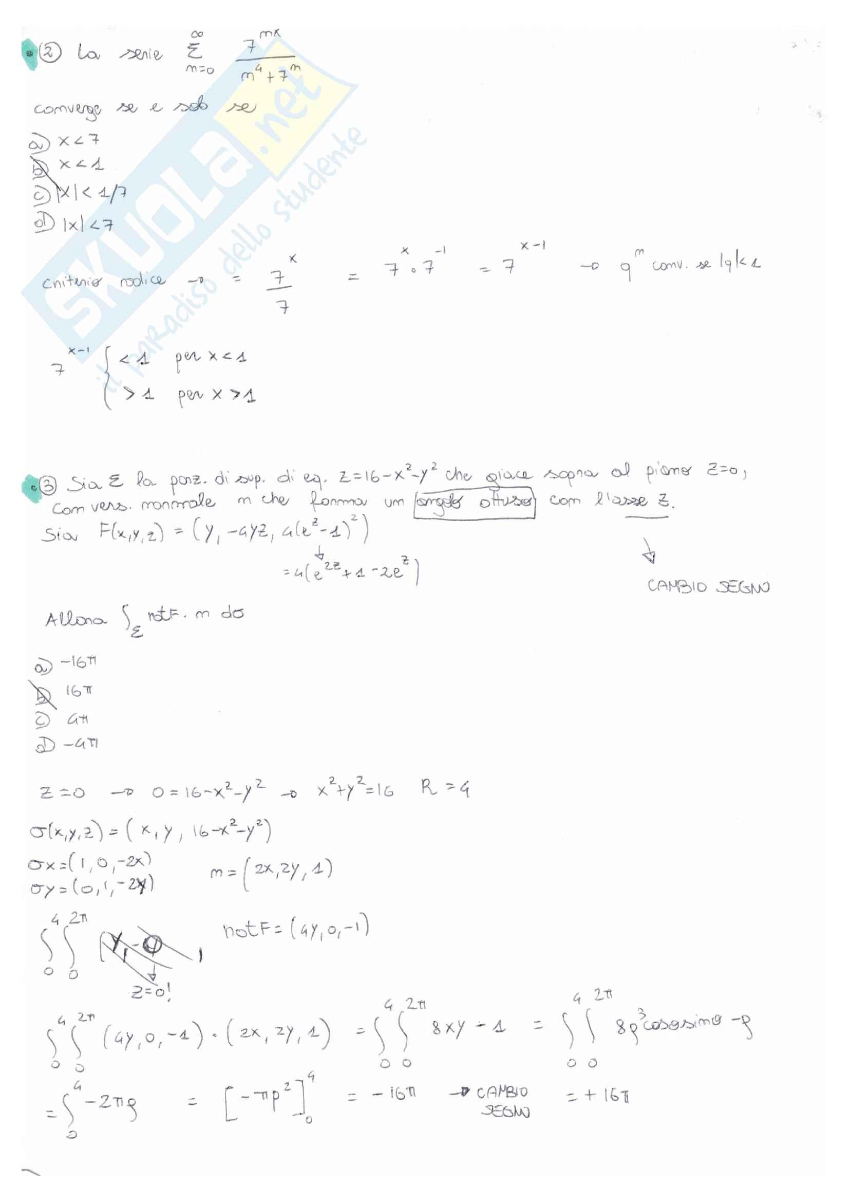 Analisi matematica 2: temi d'esame e quiz svolti e commentati - prof Serra Pag. 2