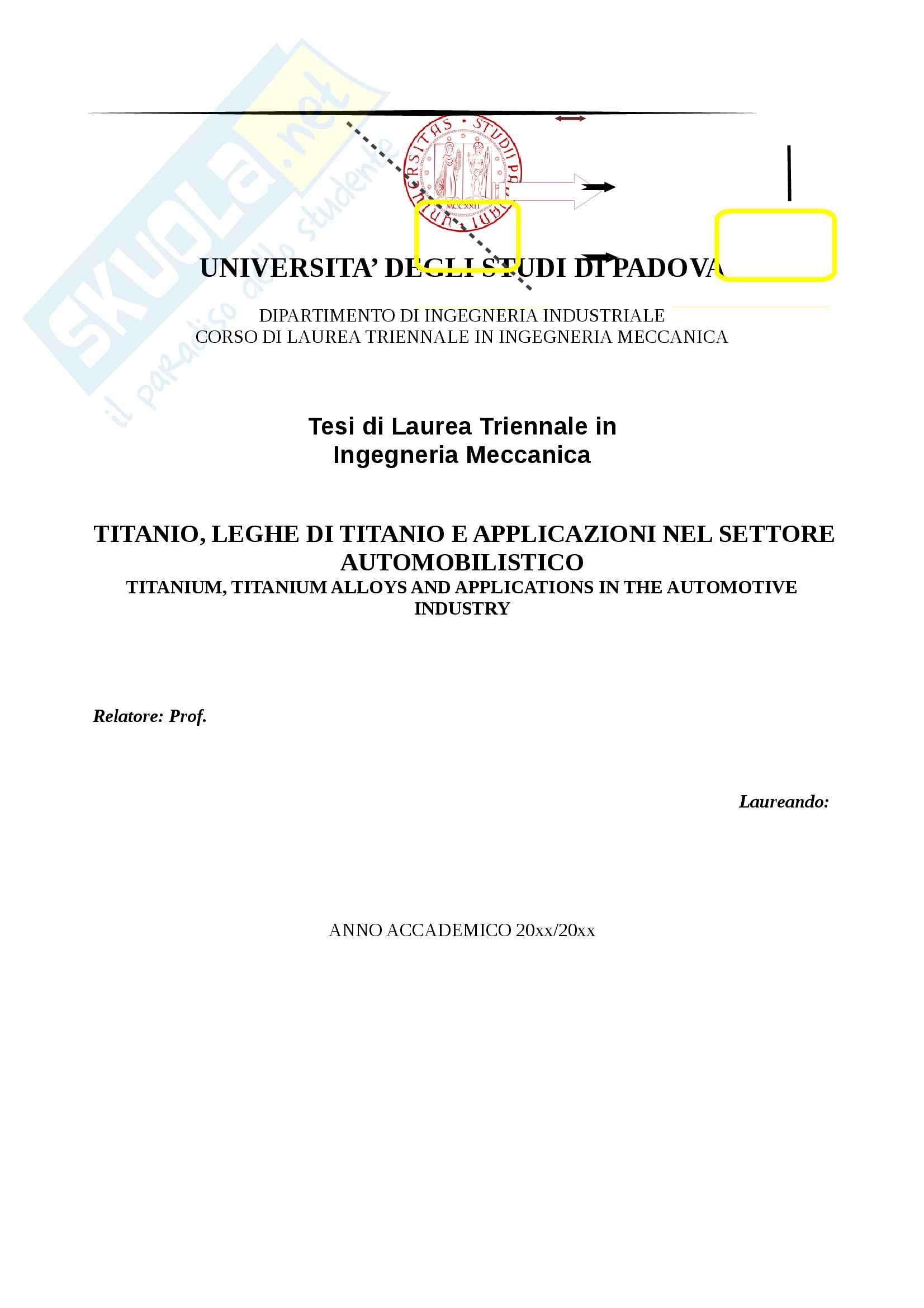 Titanio leghe di Titanio e applicazioni nel settore automobilistico 1 1