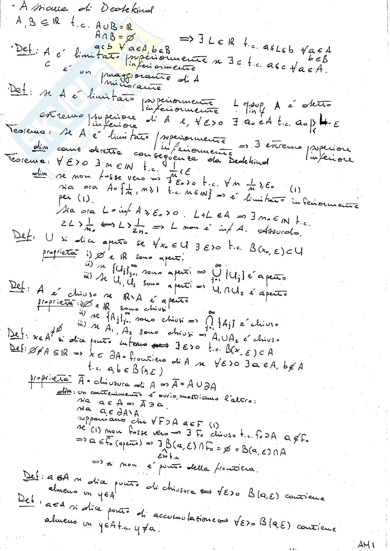 appunto V. Georgiev Analisi matematica I
