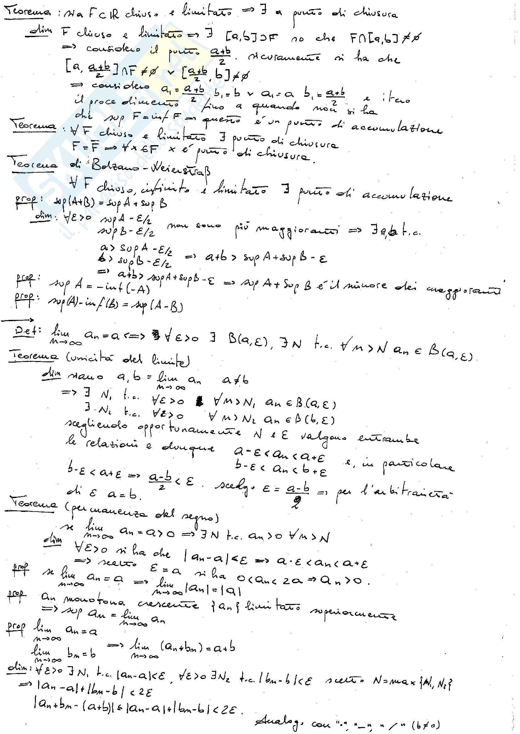 Principali teoremi, Analisi 1 Pag. 2