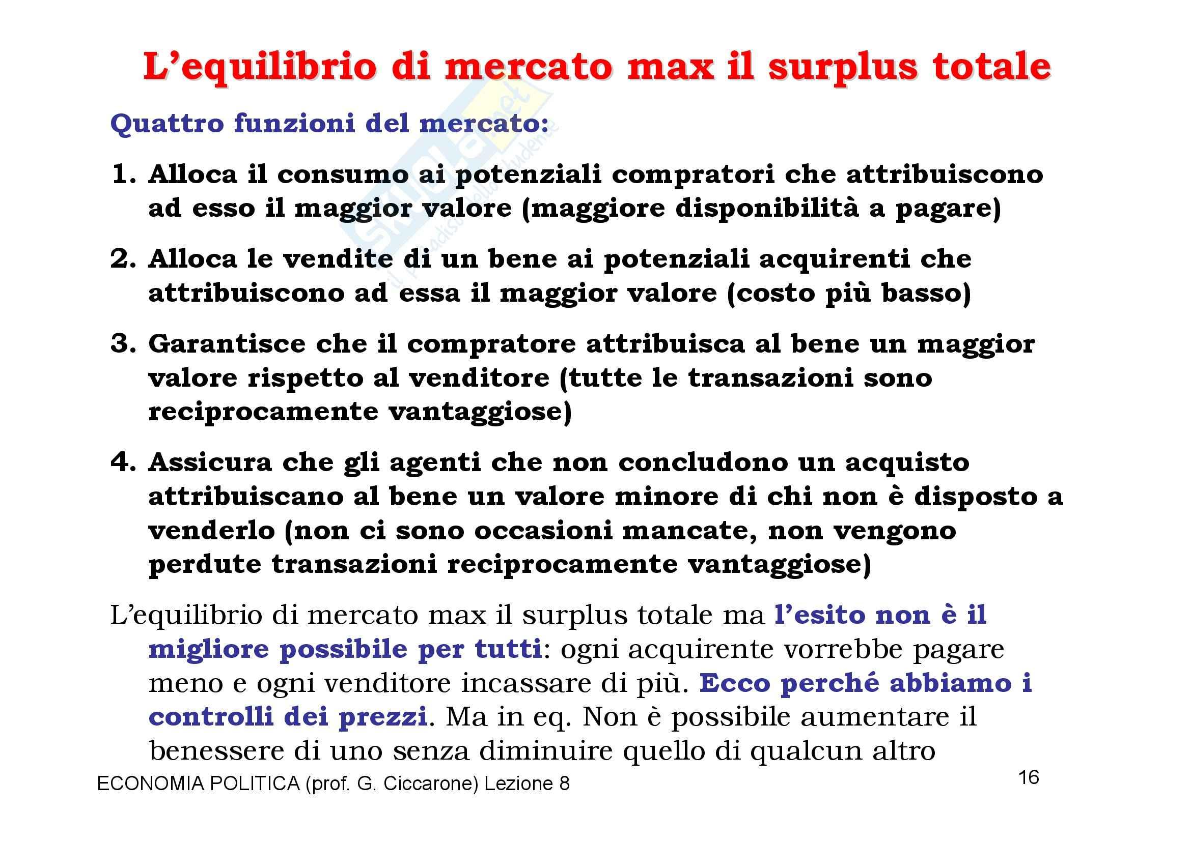 Economia monetaria - il surplus di mercato Pag. 16