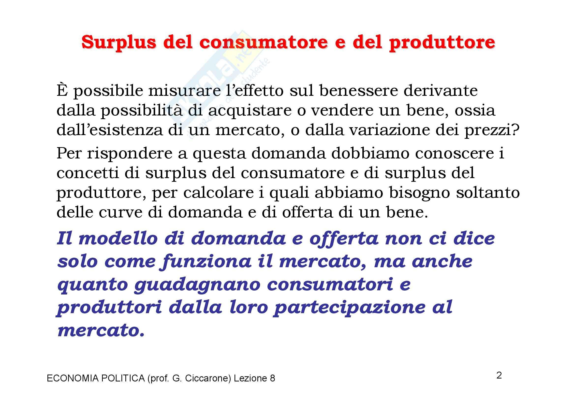 Economia monetaria - il surplus di mercato Pag. 2