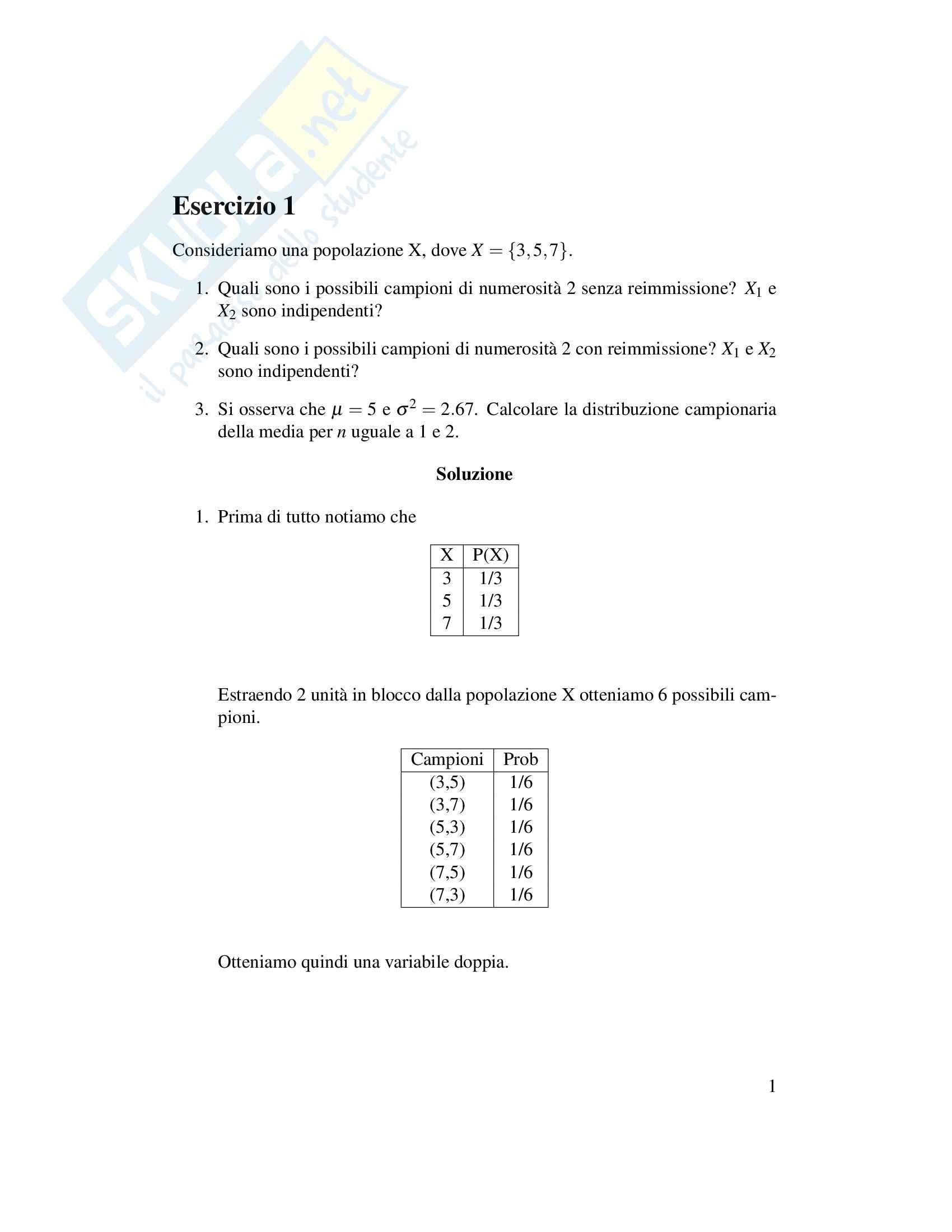 esercitazione I. Carbonaro Statistica