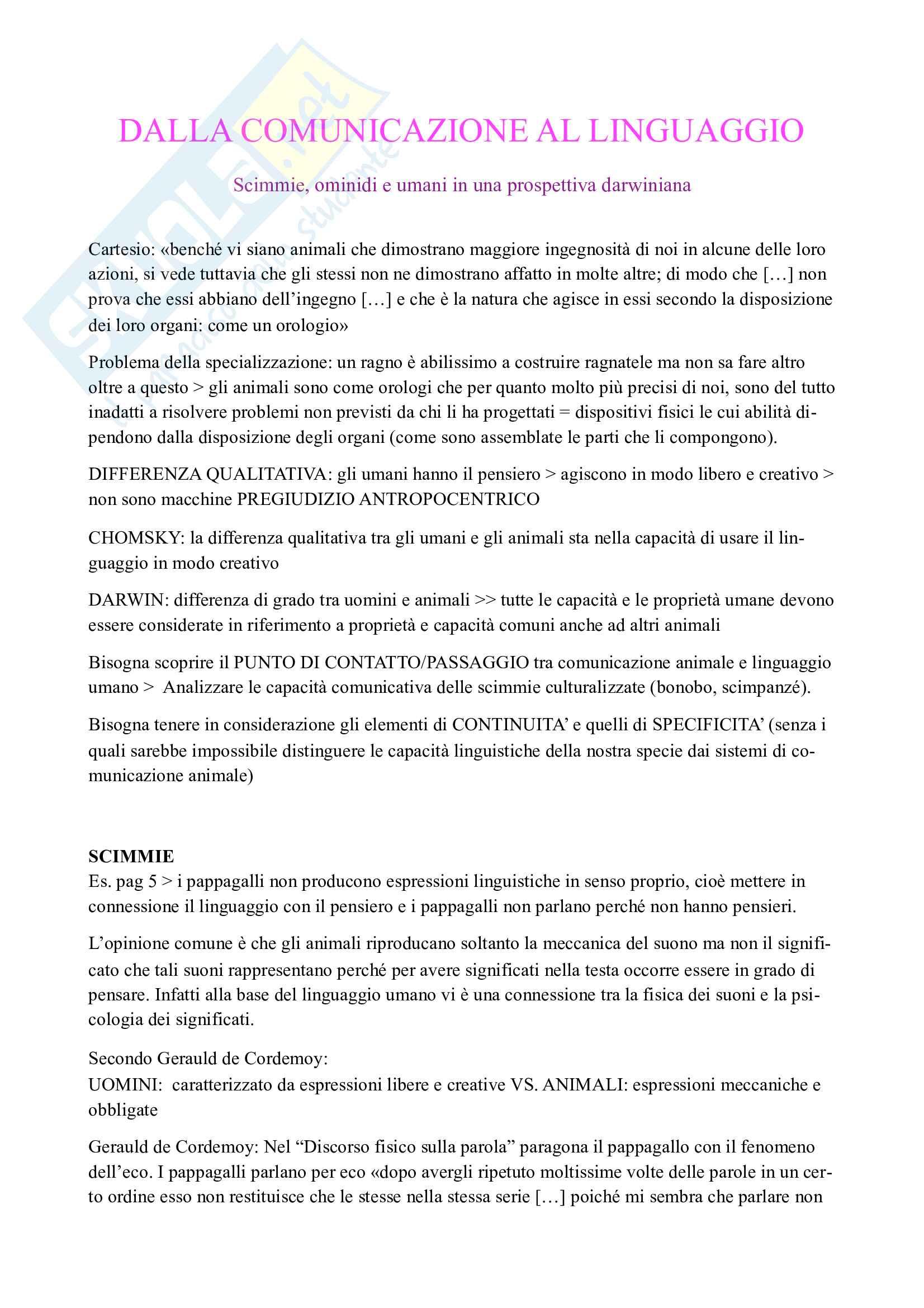 Riassunto esame Filosofia del linguaggio 2, prof. Ferretti, libro consigliato Dalla comunicazione al linguaggio