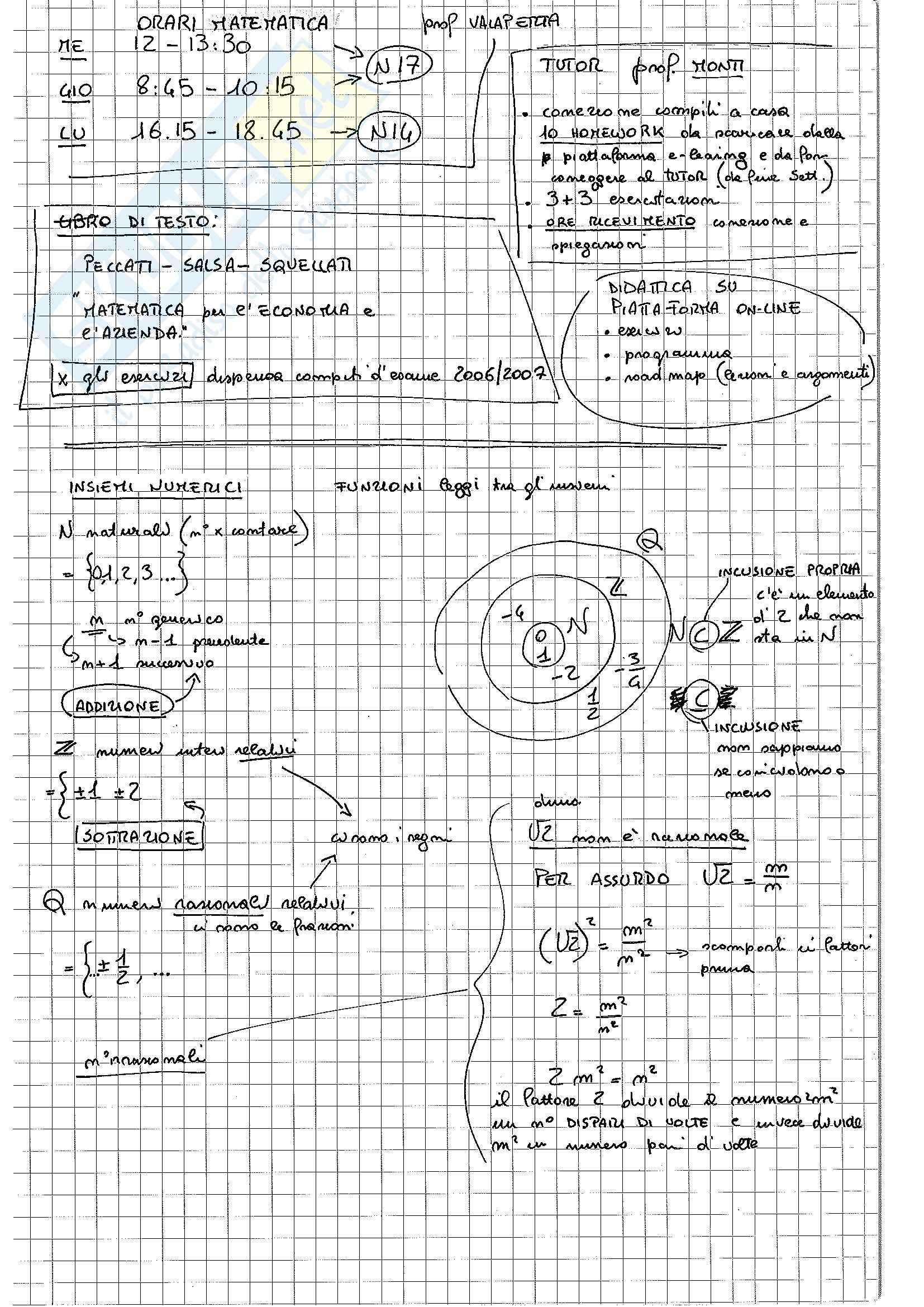 MB107 Appunti di Matematica Generale per l'Economia