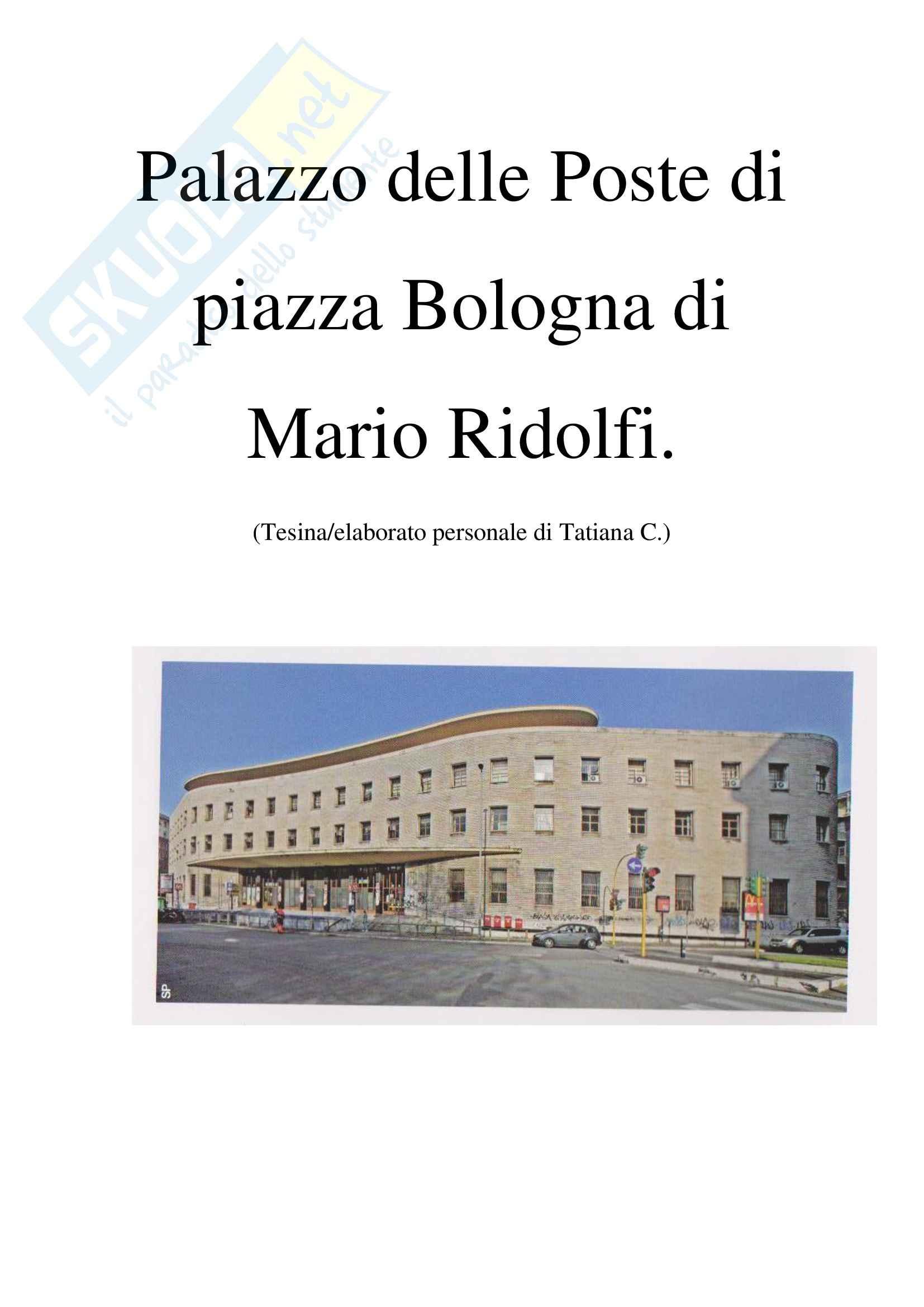 Tesi,  Palazzo delle Poste di piazza Bologna a Roma di Mario Ridolfi