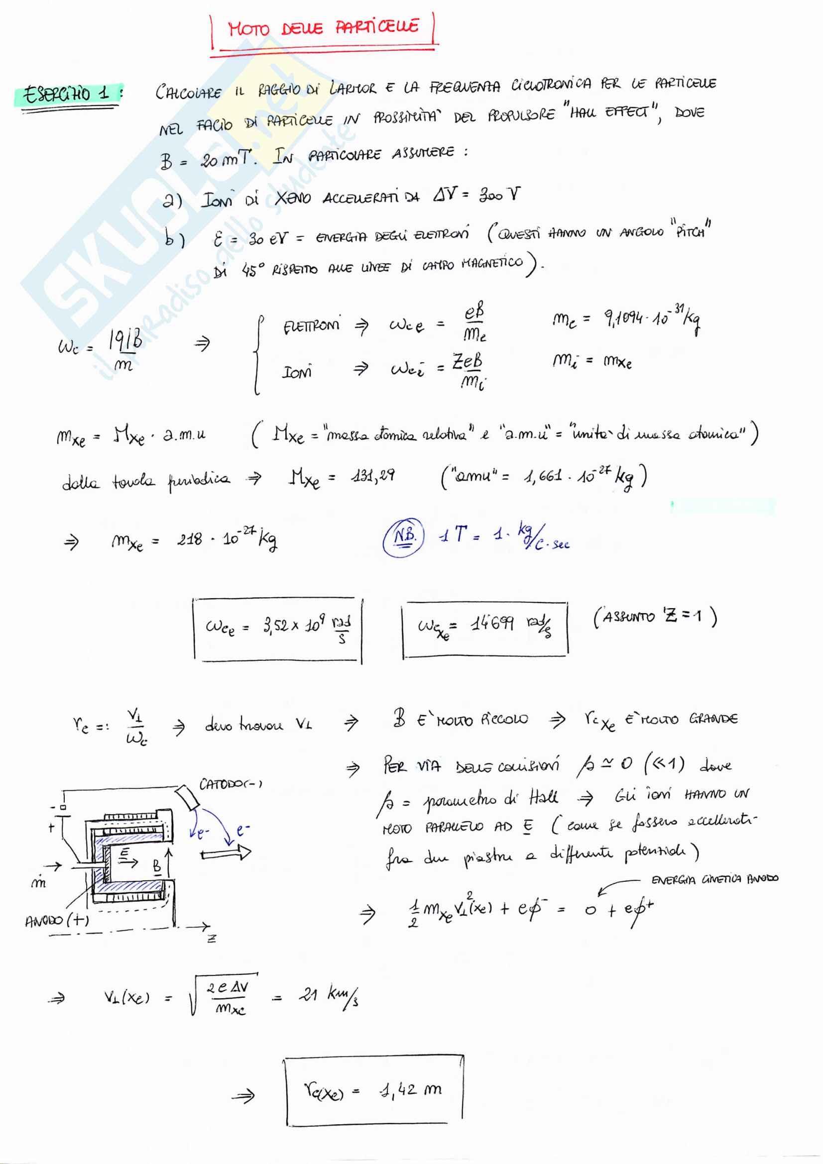 Fisica Del Plasma e Propulsione Elettrica (Esercizi Svolti)