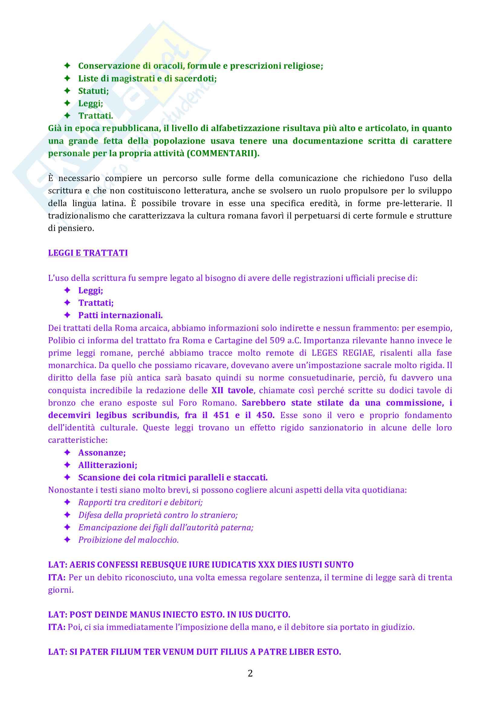 Riassunto esame diLetteratura latina, prof. Cristante, libro consigliato Storia e testi della letteratura latina, Conte, Pianezzola Pag. 2