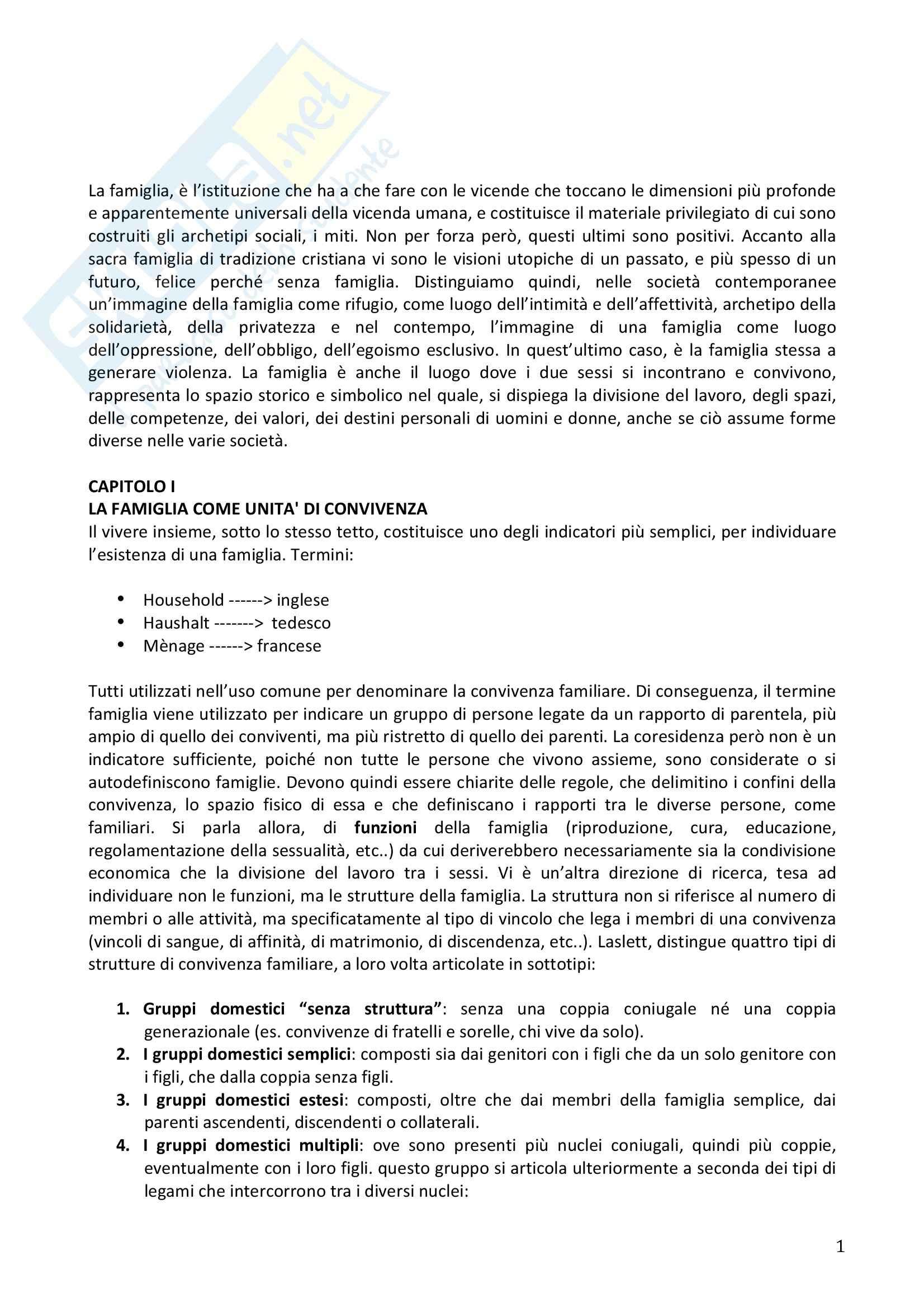Riassunto esame Sociologia della famiglia, prof. Naldini, libro consigliato Manuale di sociologia della famiglia, Saraceno, Naldini