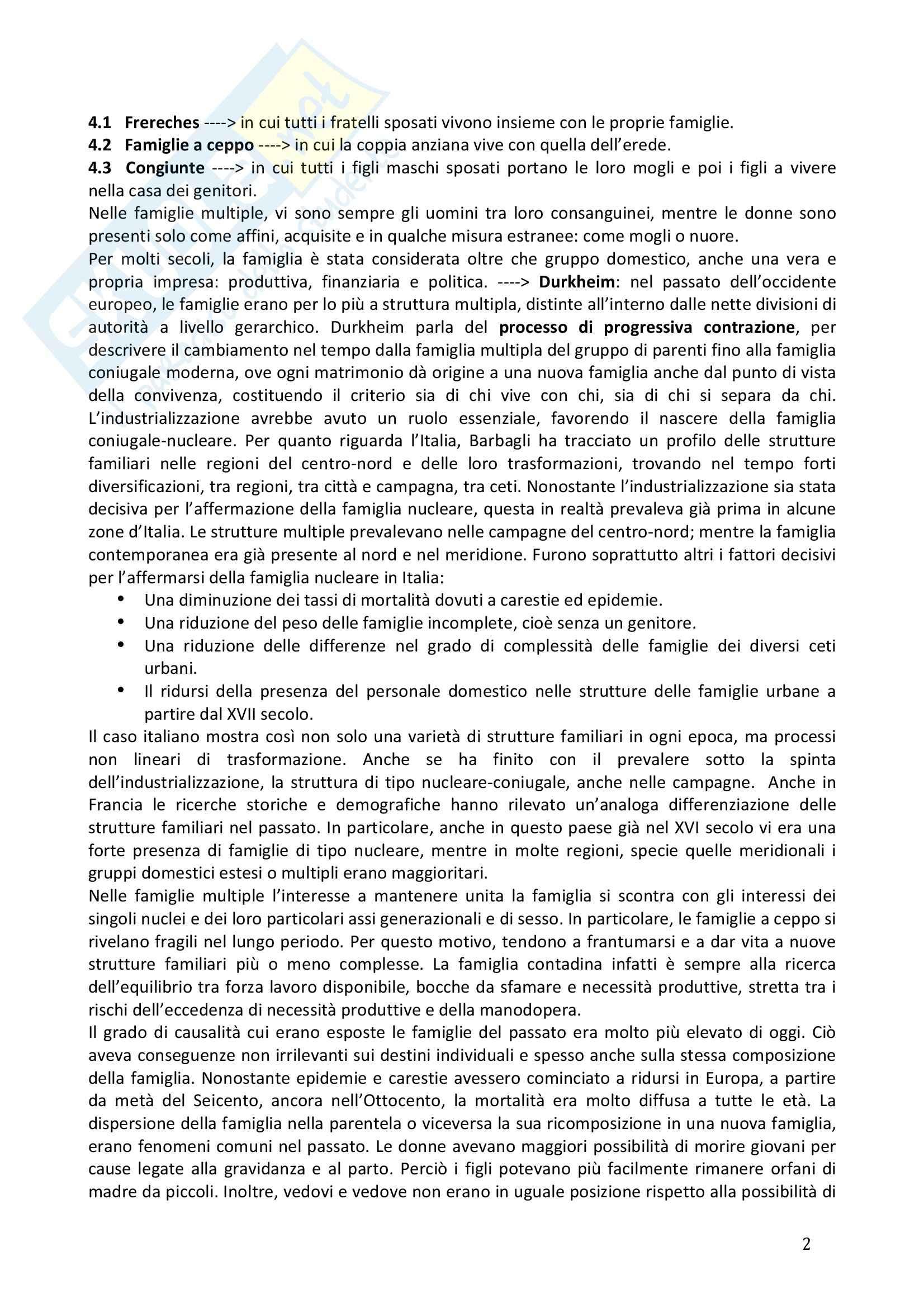 Riassunto esame Sociologia della famiglia, prof. Naldini, libro consigliato Manuale di sociologia della famiglia, Saraceno, Naldini Pag. 2