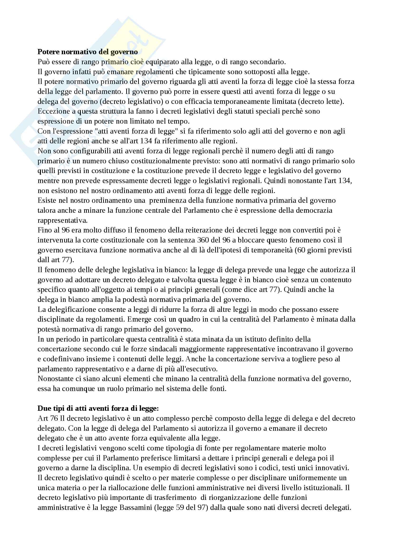 Potere normativo del governo e atti aventi forza di legge - diritto pubblico