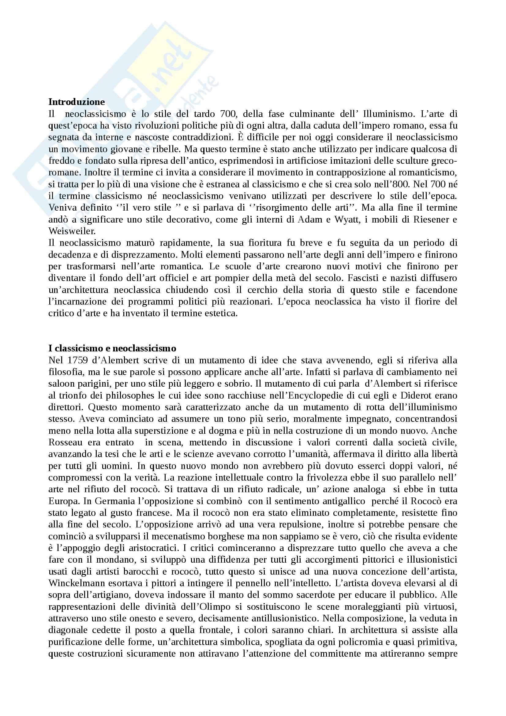 Riassunto esame Storia delle tecniche artistiche, prof. Beretti, libro consigliato Neoclassicismo, Honour