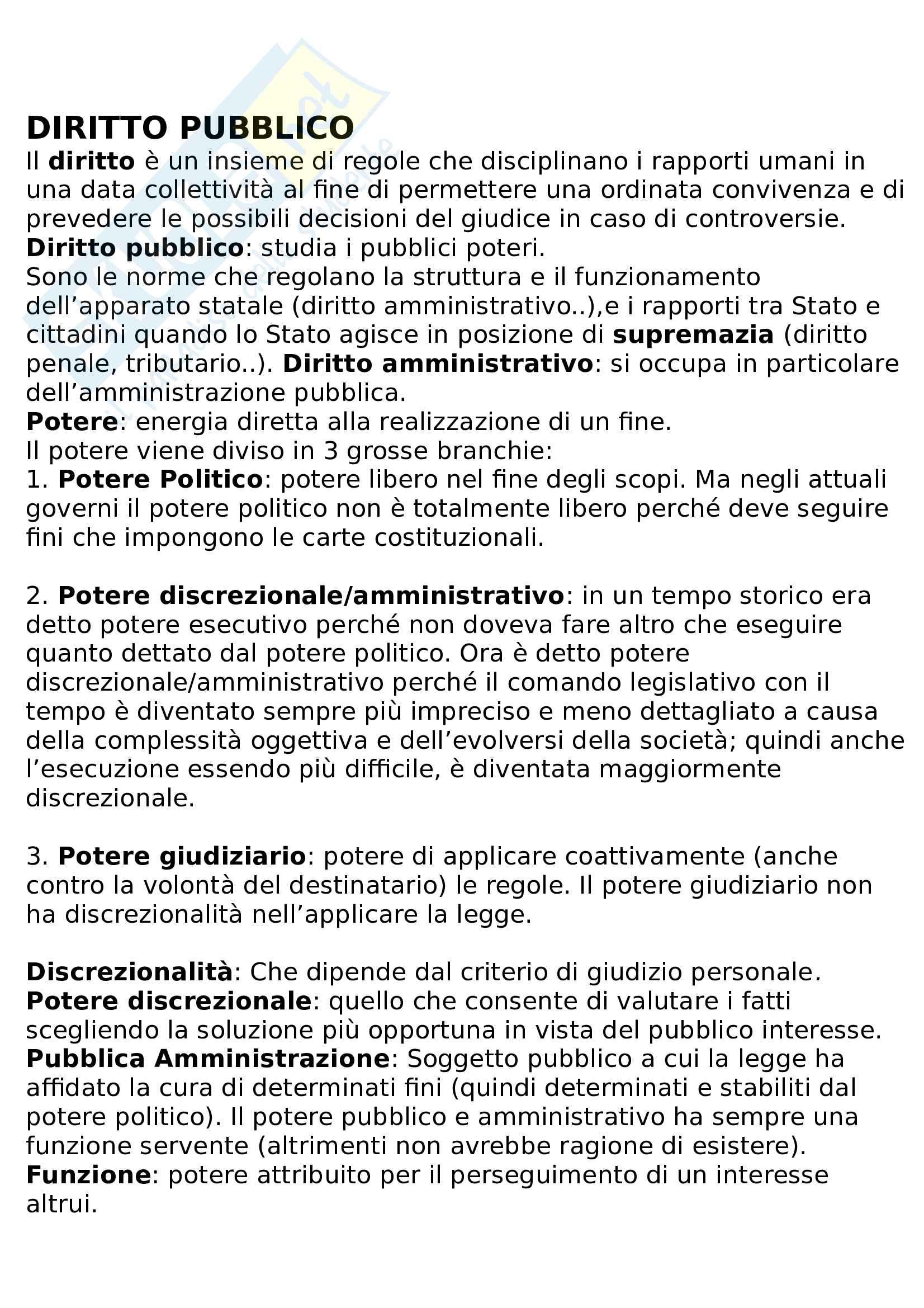 Riassunto diritto pubblico e amministrativo