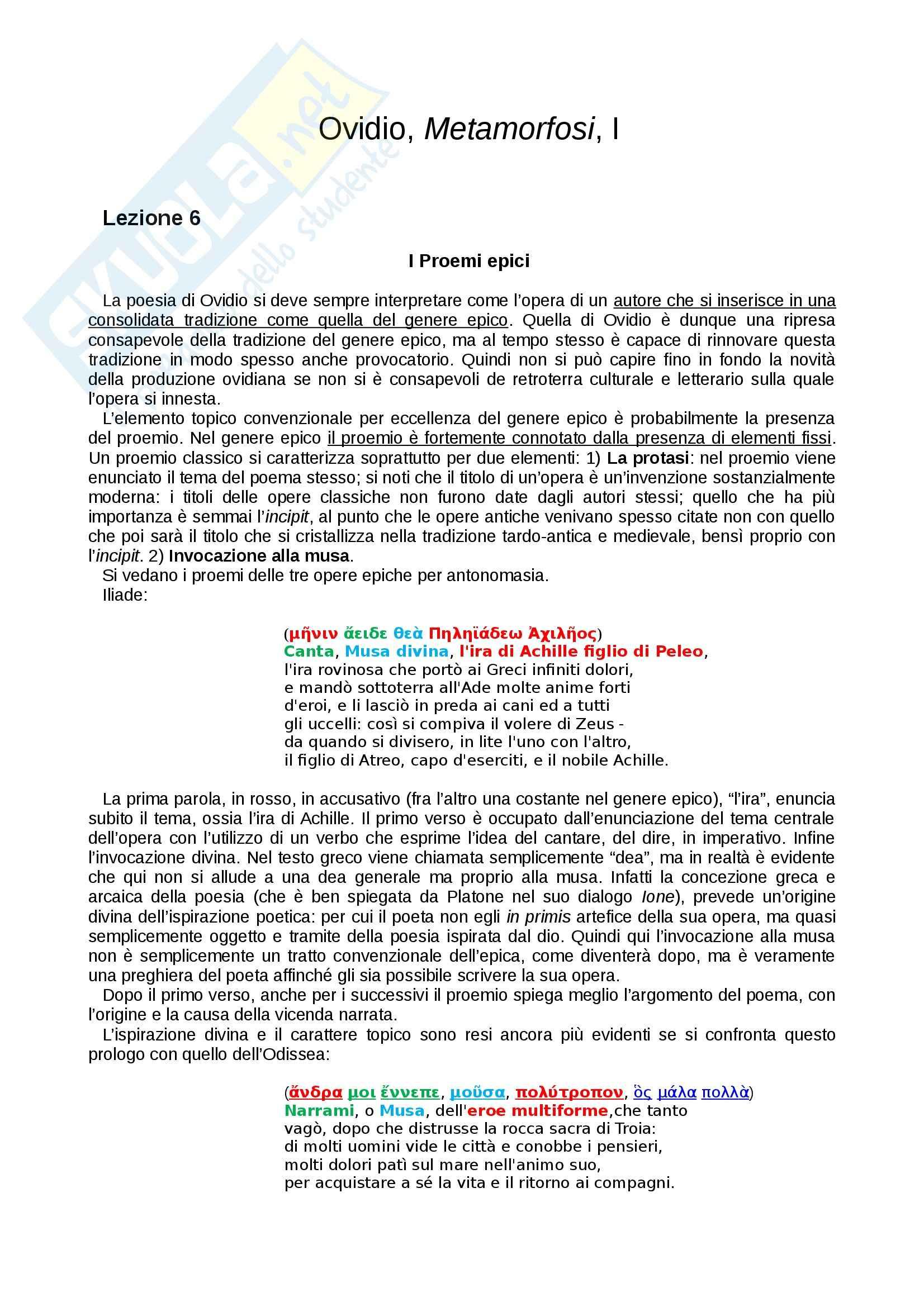Le «Metamorfosi» di Ovidio tradotte e commentate, Libro I
