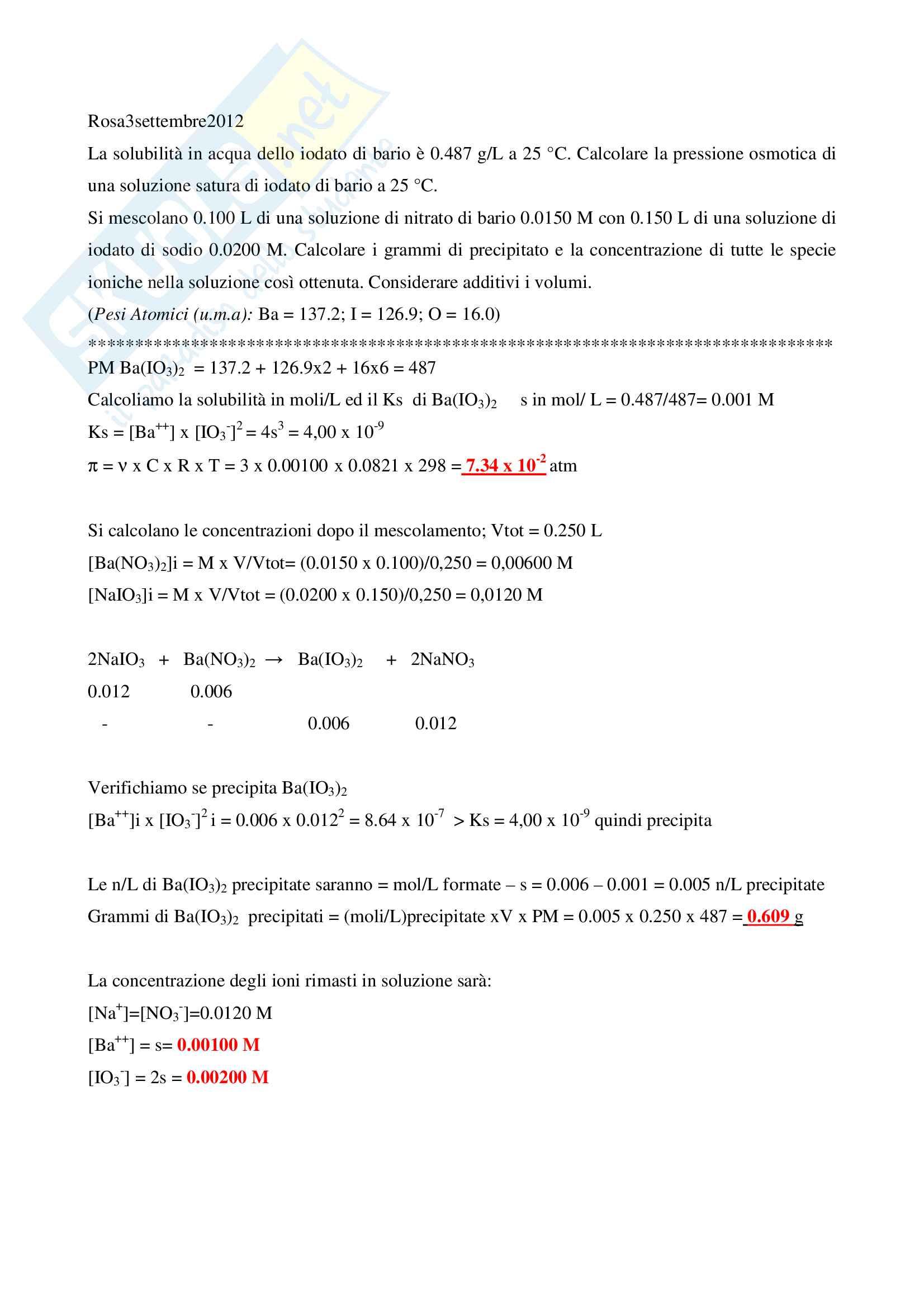 Esercizi d'esame svolti di chimica generale ed inorganica - Ctf e Farmacia