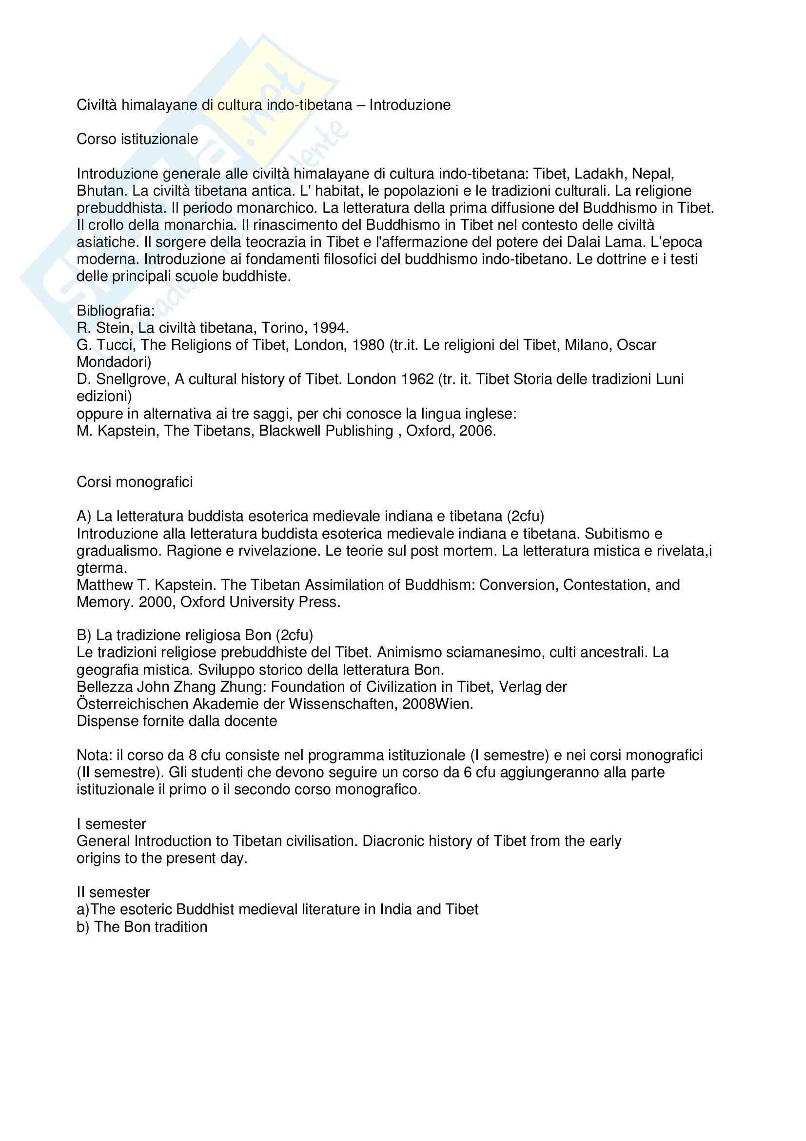 Civiltà himalayane di cultura indo-tibetana - Introduzione