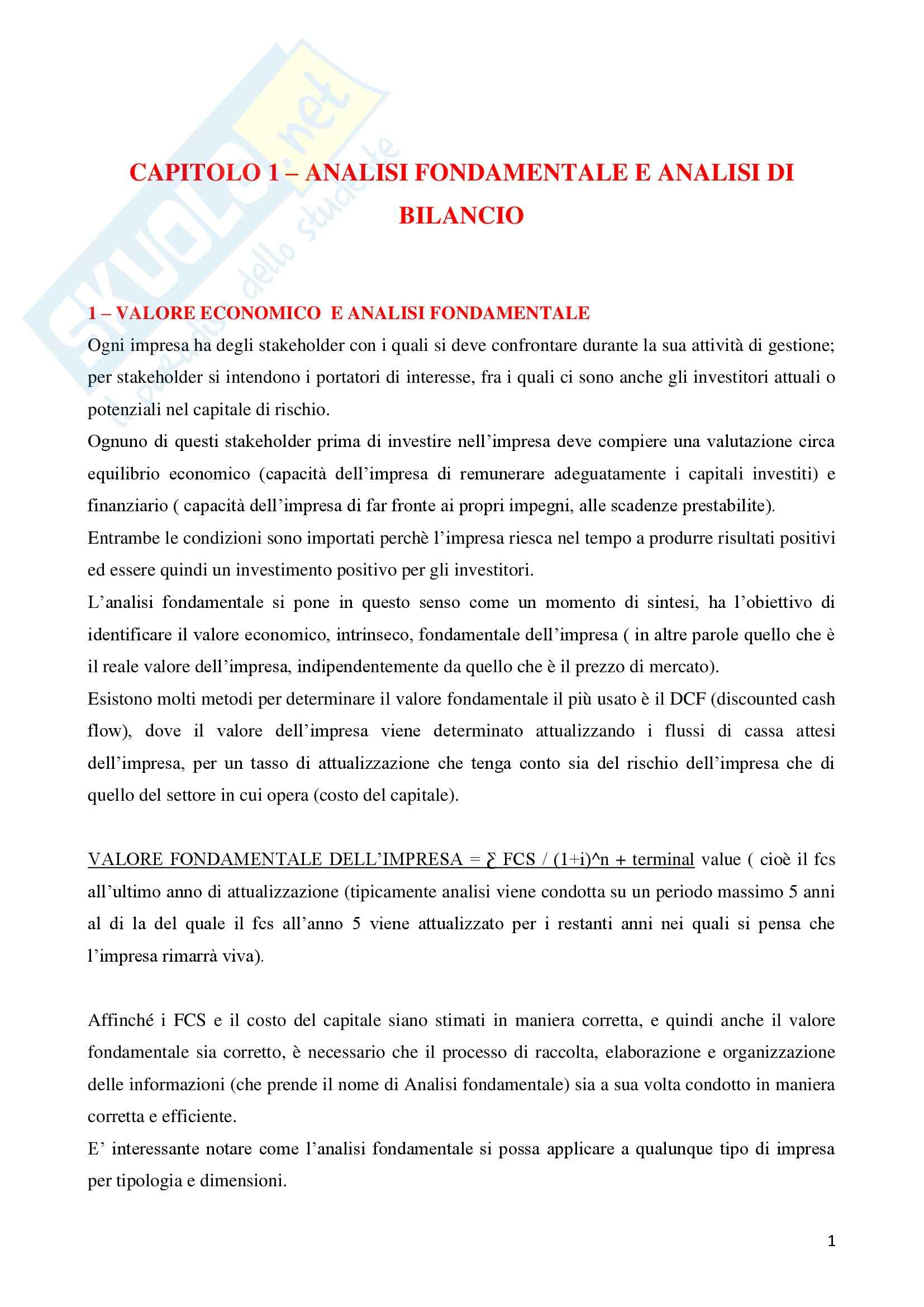 Riassunto esame Analisi di Bilancio, prof. Giunta