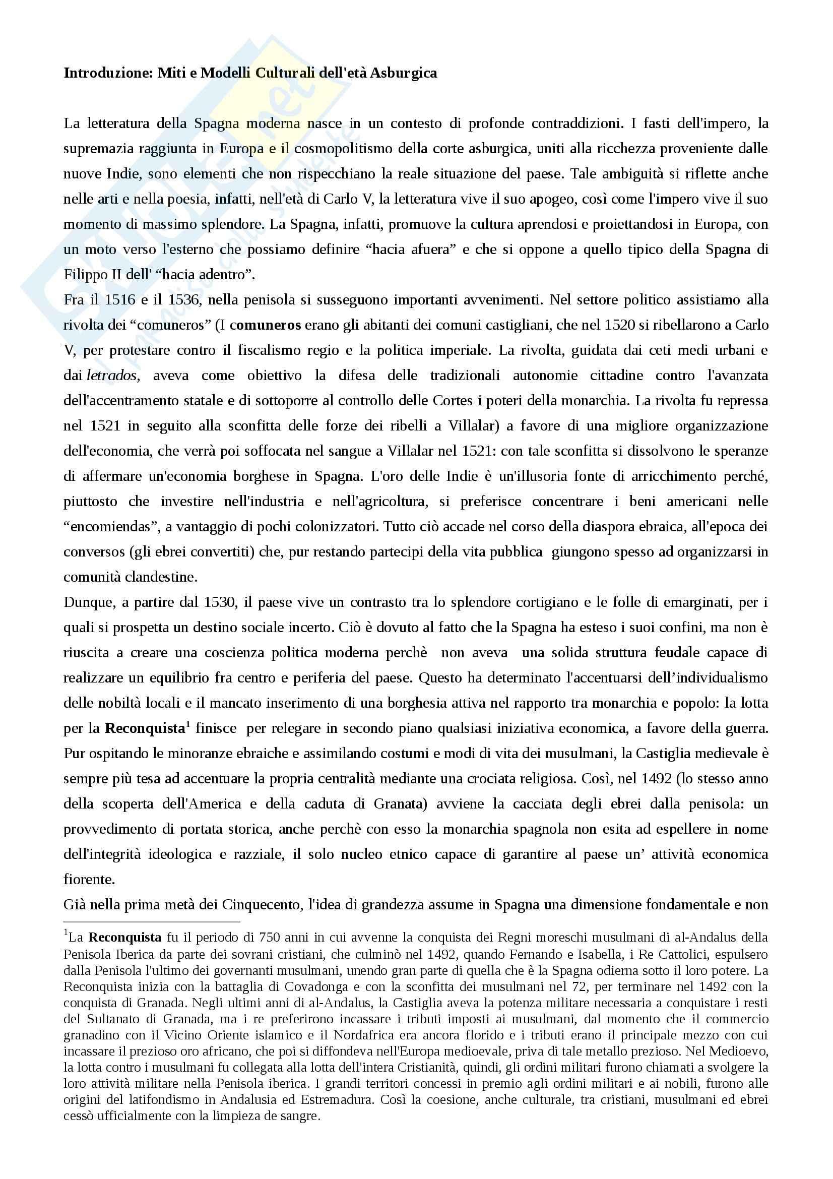 Riassunto esame letteratura spagnola, prof. Guarino, libro consigliato La letteratura spagnola vol. 2, Mancini, Guazzelli, Martinengo