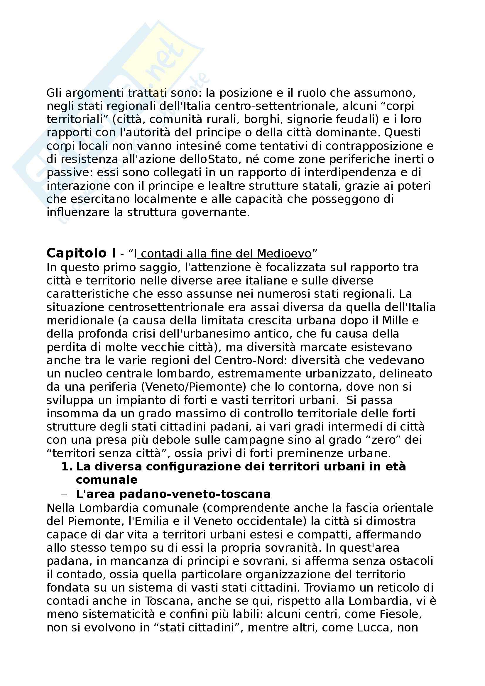 Riassunto esame Storia Medievale, prof. Chittolini, libro consigliato Città, Comunità e Feudi di Chittolini