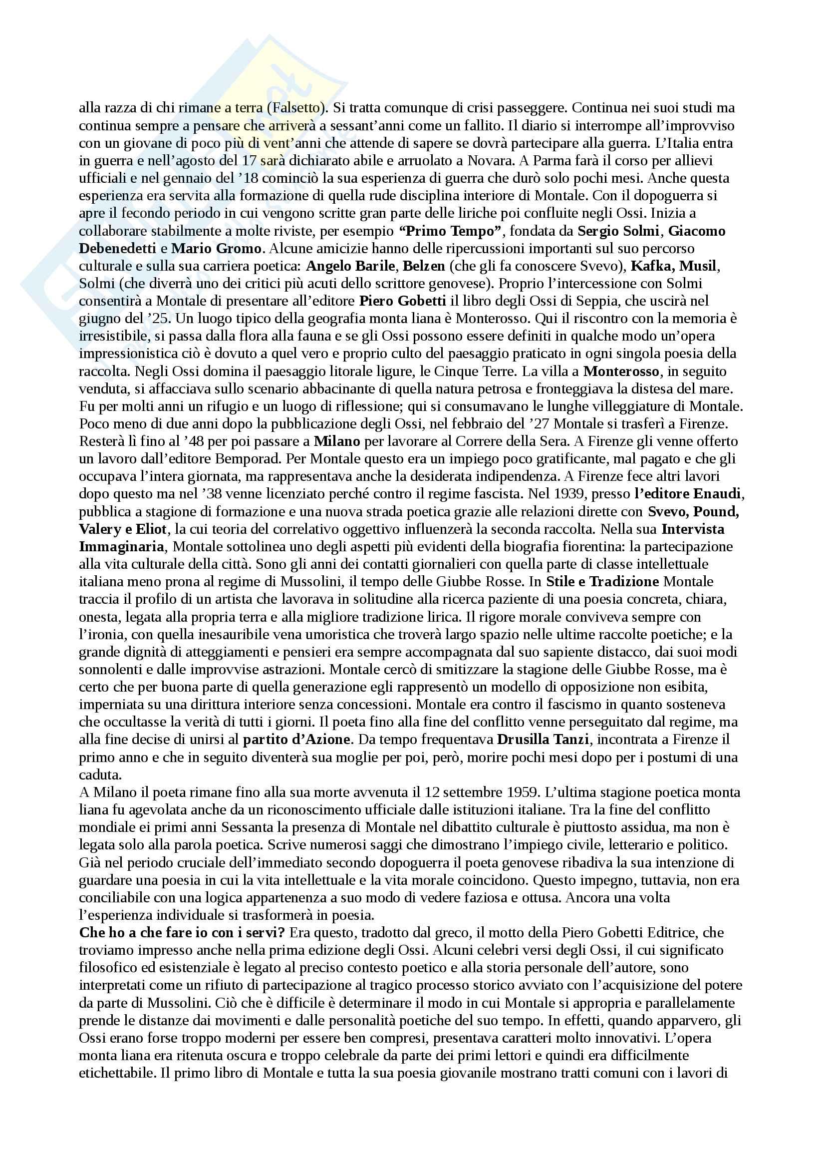 Riassunto esame Letteratura Italiana Contemporanea, prof. Pacca, libro consigliato Come Leggere gli Ossi di Seppia, Villoresi Pag. 2