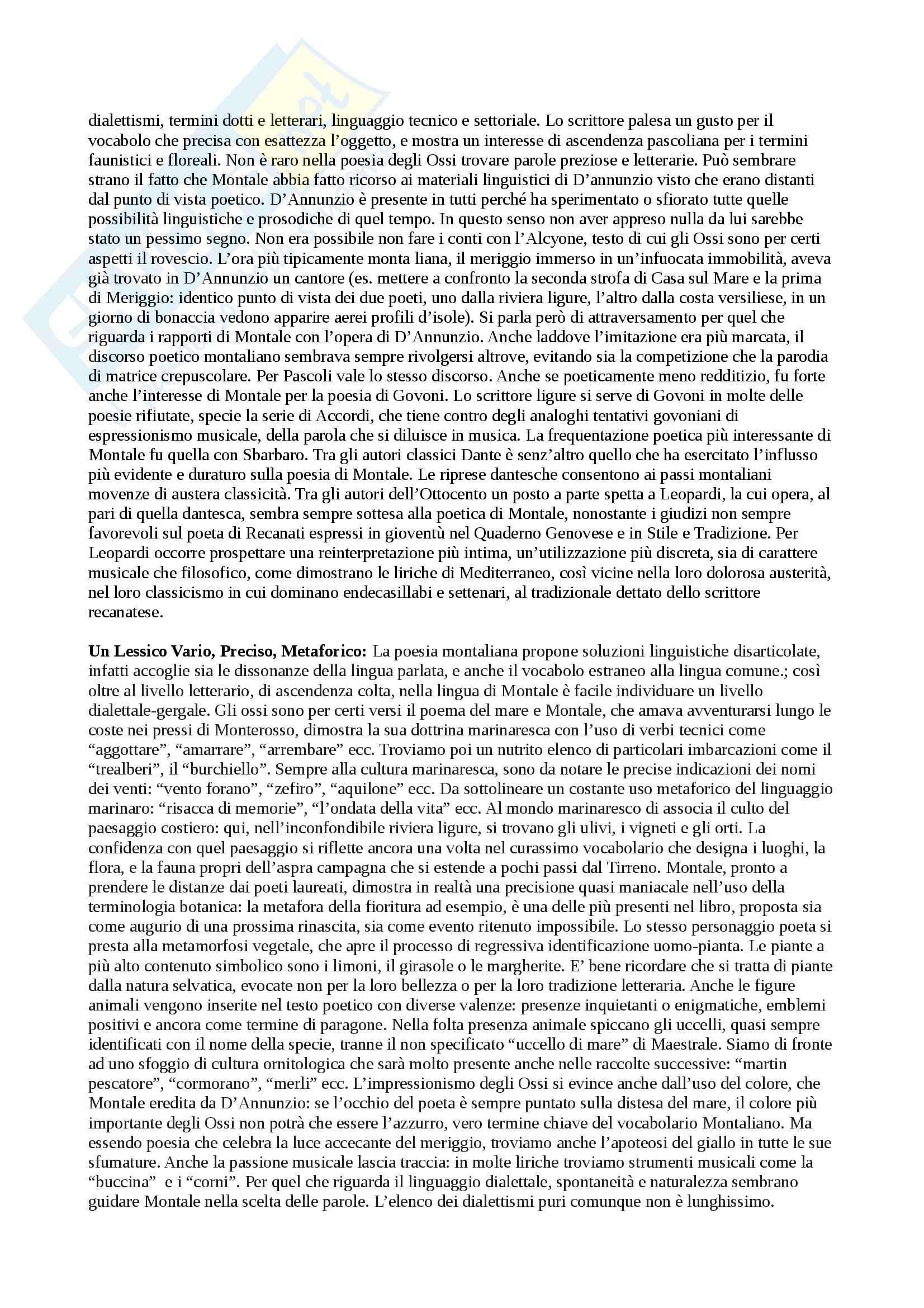 Riassunto esame Letteratura Italiana Contemporanea, prof. Pacca, libro consigliato Come Leggere gli Ossi di Seppia, Villoresi Pag. 6