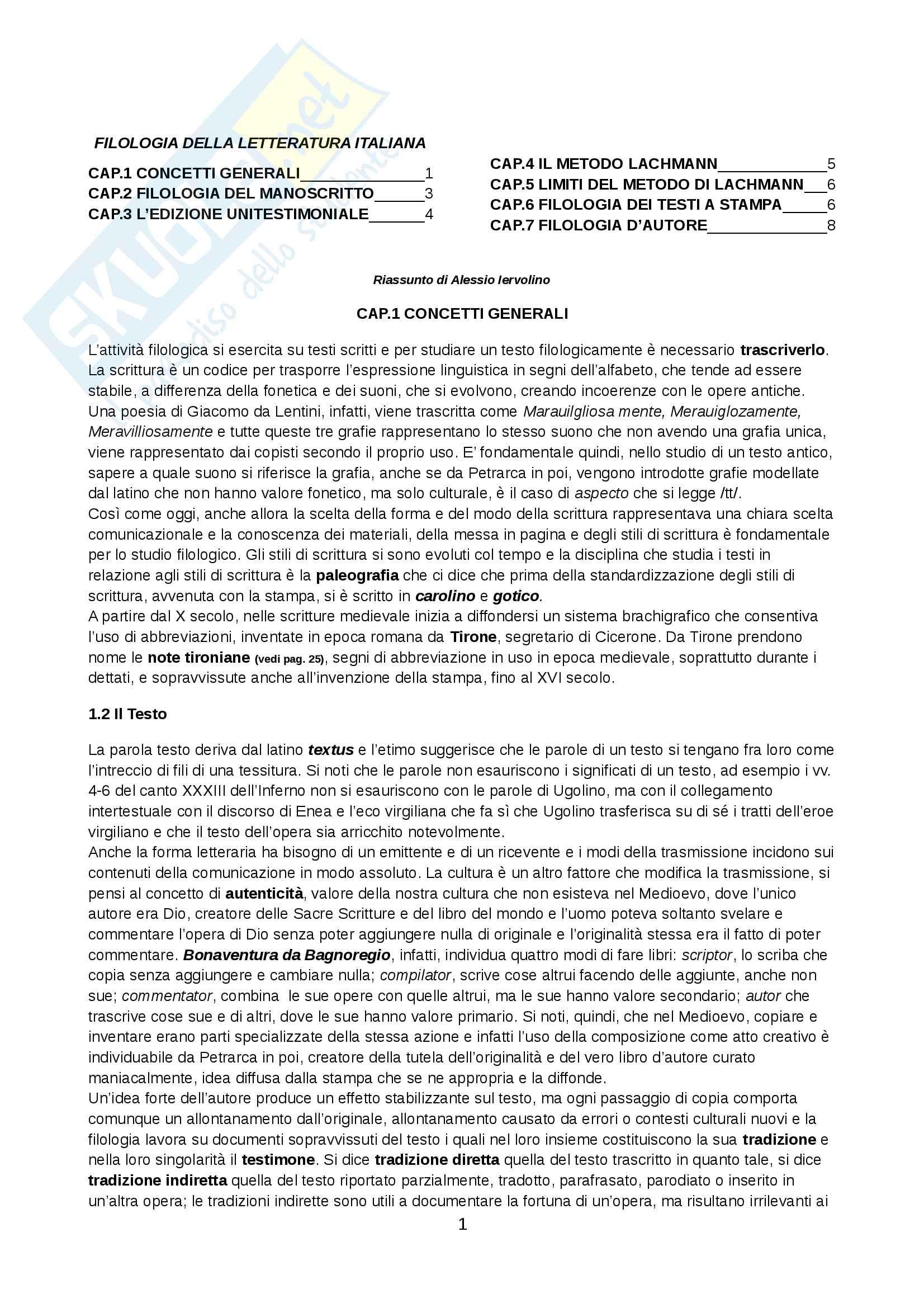 Riassunto esame Istituzioni di Filologia Italiana, prof. Fiorilla, libro consigliato Filologia della Letteratura Italiana, Stoppelli