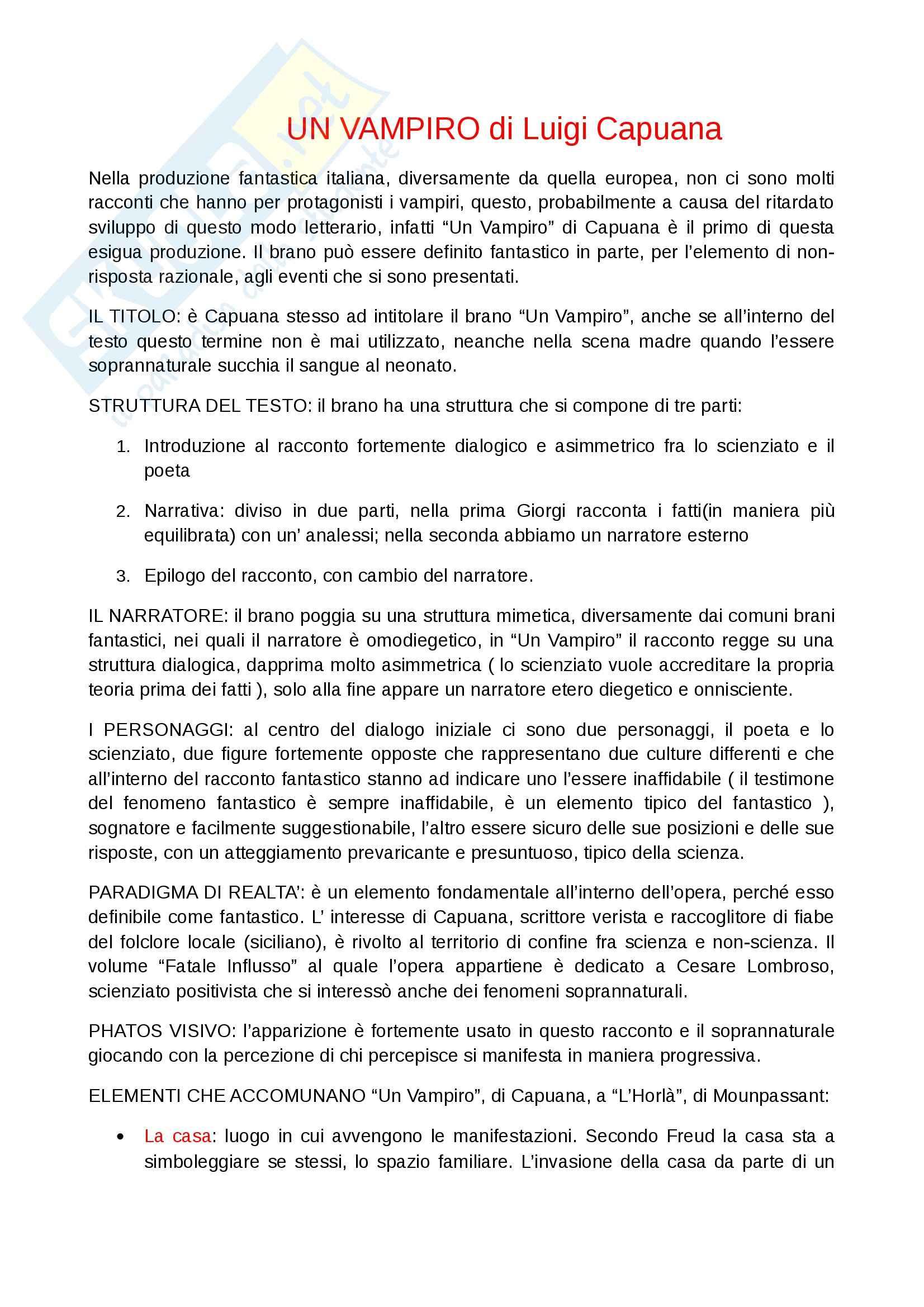 Riassunto esame Letteratura italiana, prof. Verbaro, libro consigliato Un vampiro, Capuana