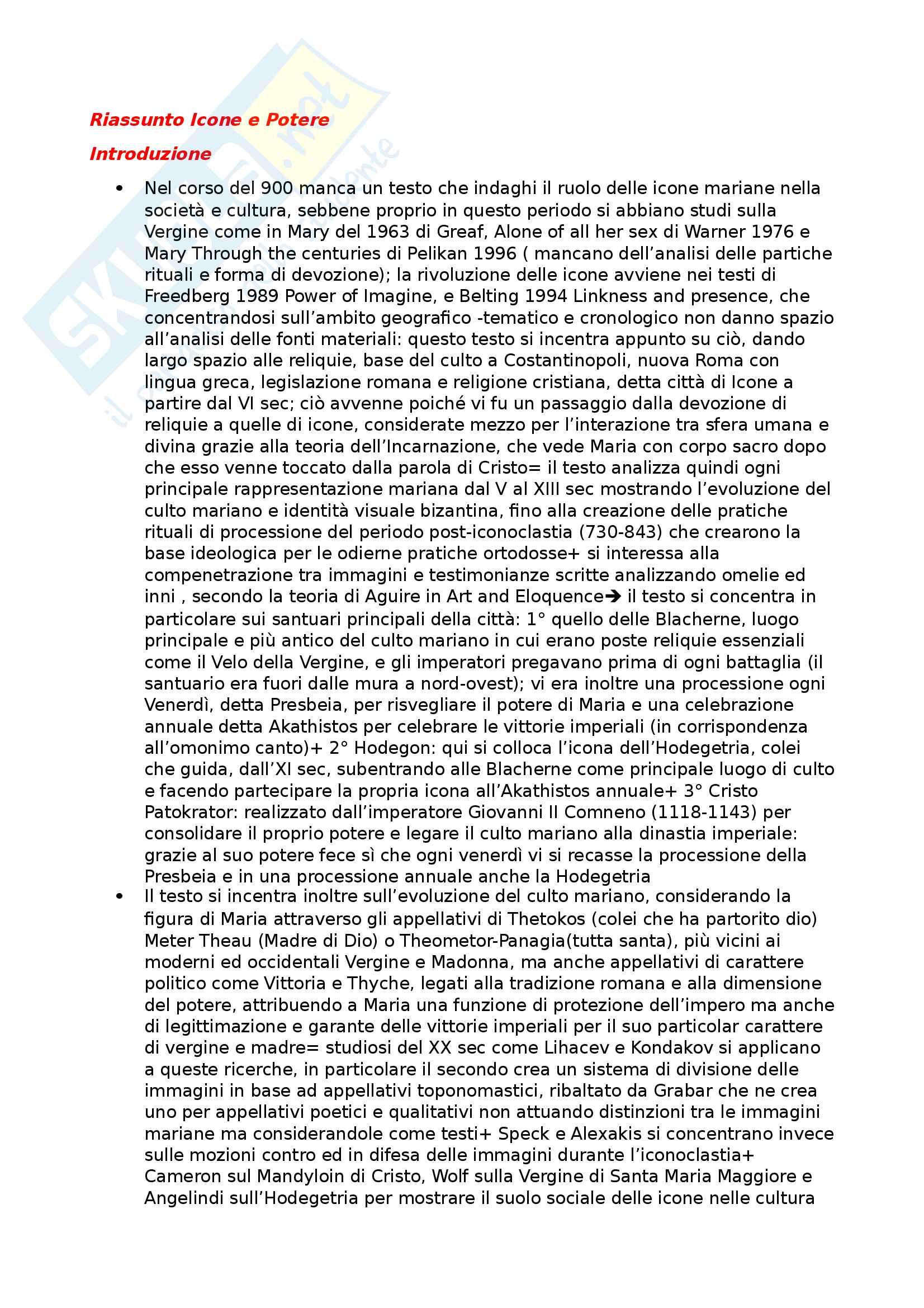 Riassunto esame Storia dell'arte medievale, prof Della Valle, libro consigliato Icone e Potere, Pentcheva