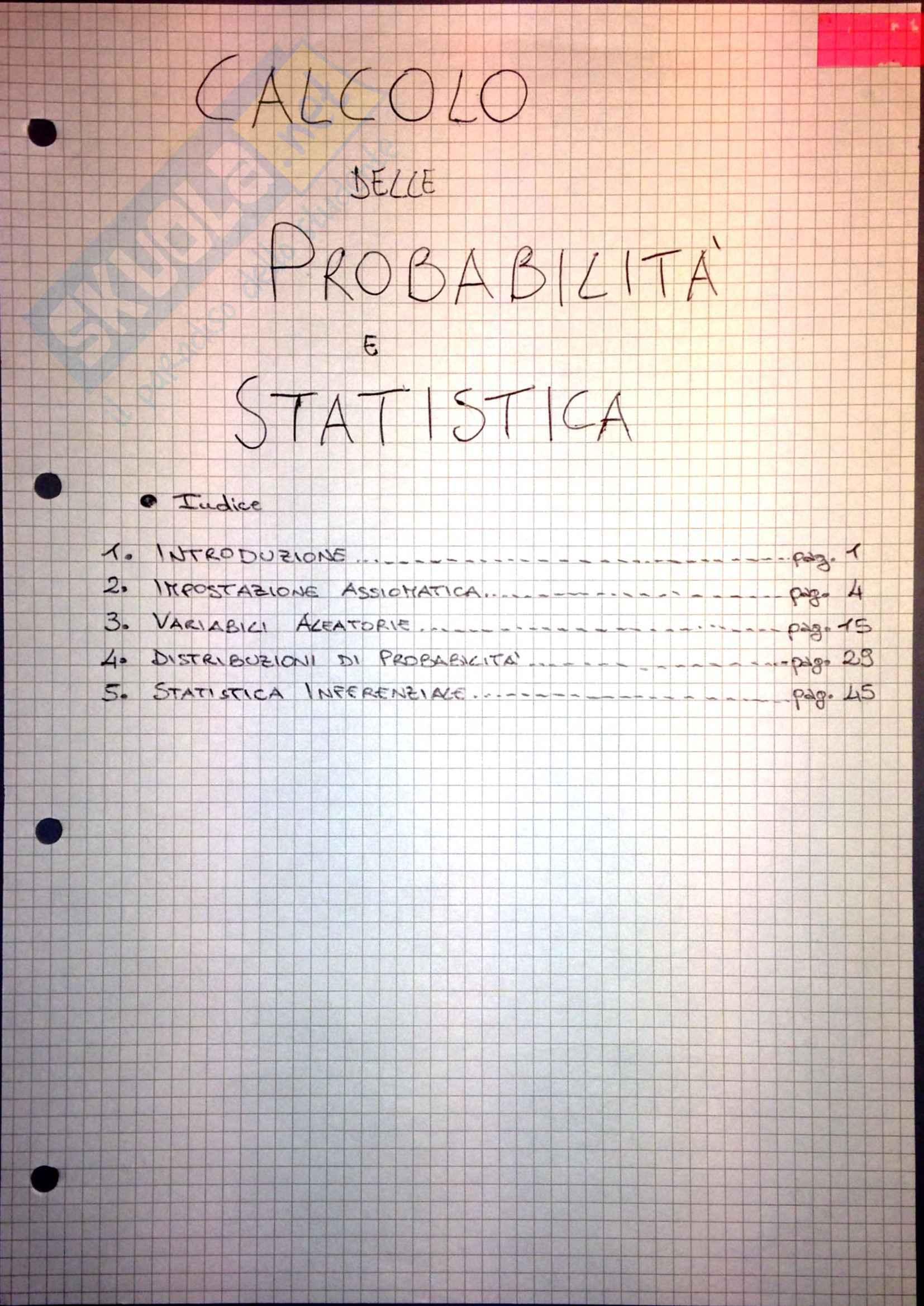 Calcolo delle Probabilità e Statistica - Appunti