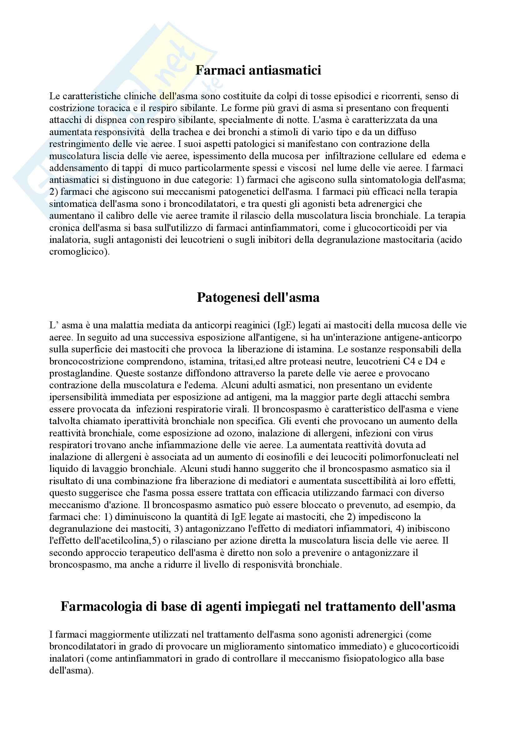 Farmacologia - farmaci antiasmatici - Appunti