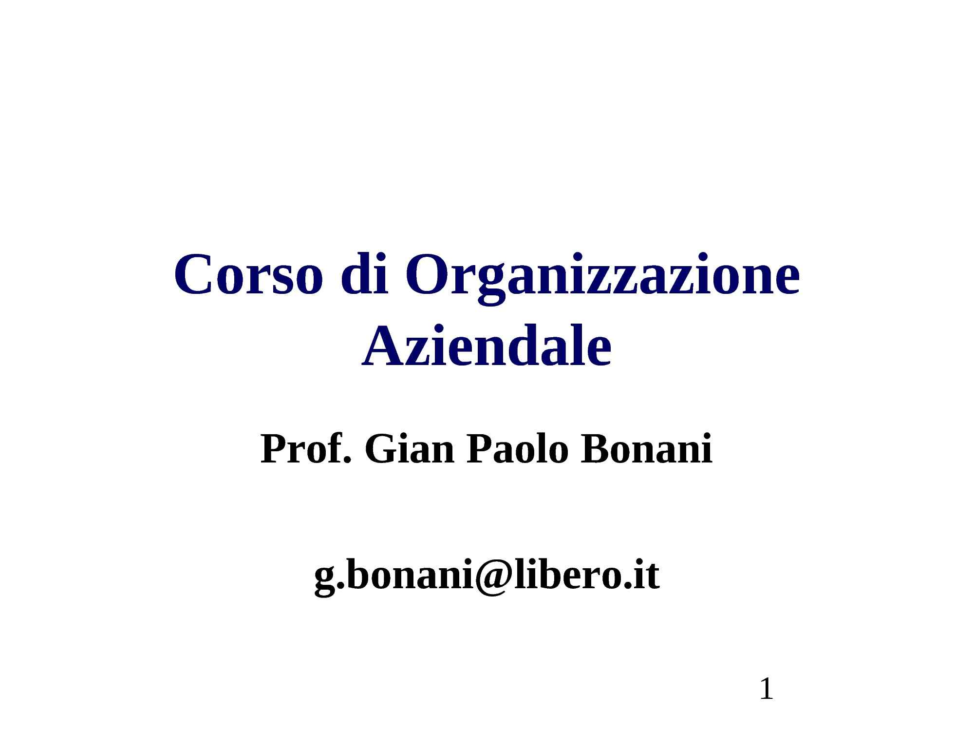 Organizzazioni - Analisi e progettazione