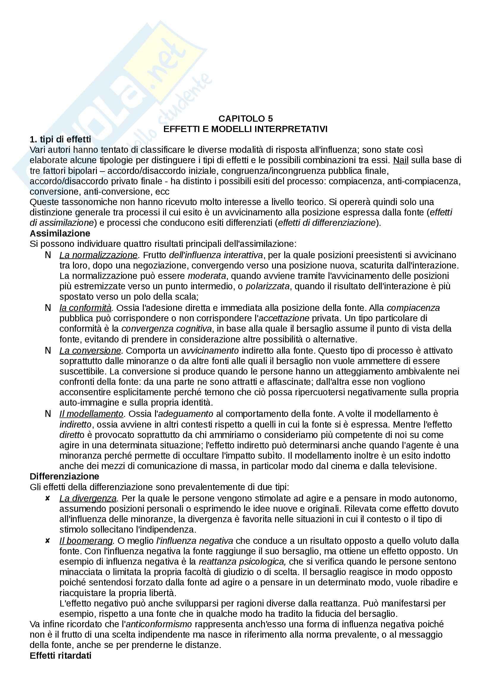 Riassunto esame Psicologia sociale, prof. Scopelliti, libro consigliato L'influenza sociale, Mucchi Pag. 21